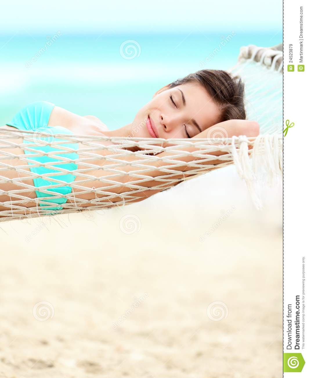 Vacation Woman Relaxing On Beach Royalty Free Stock Images