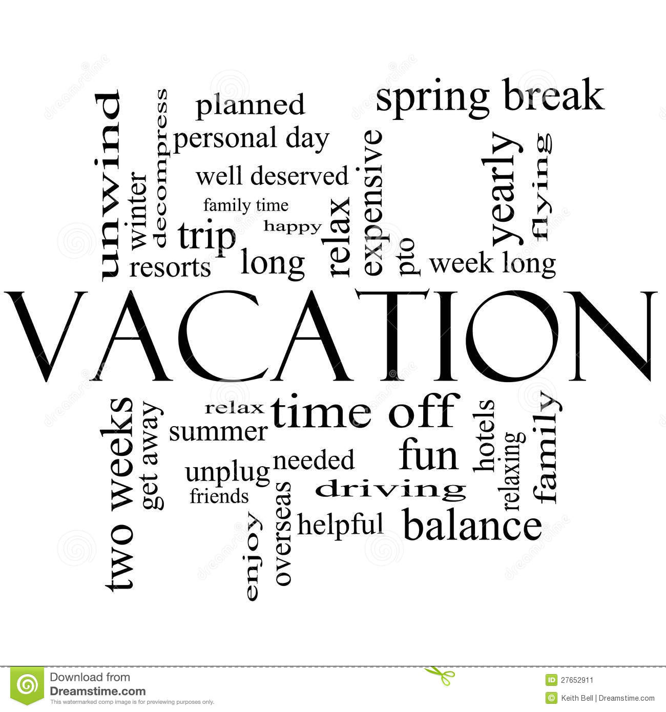 vacation word cloud concept in black and white stock illustration