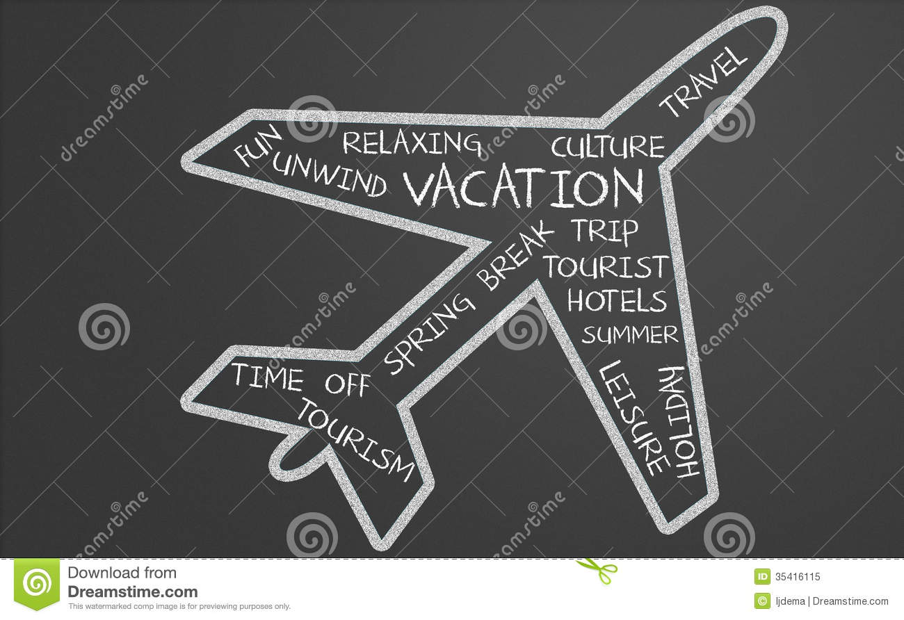 Vacation Word Cloud In Plane Shape Stock Illustration ...