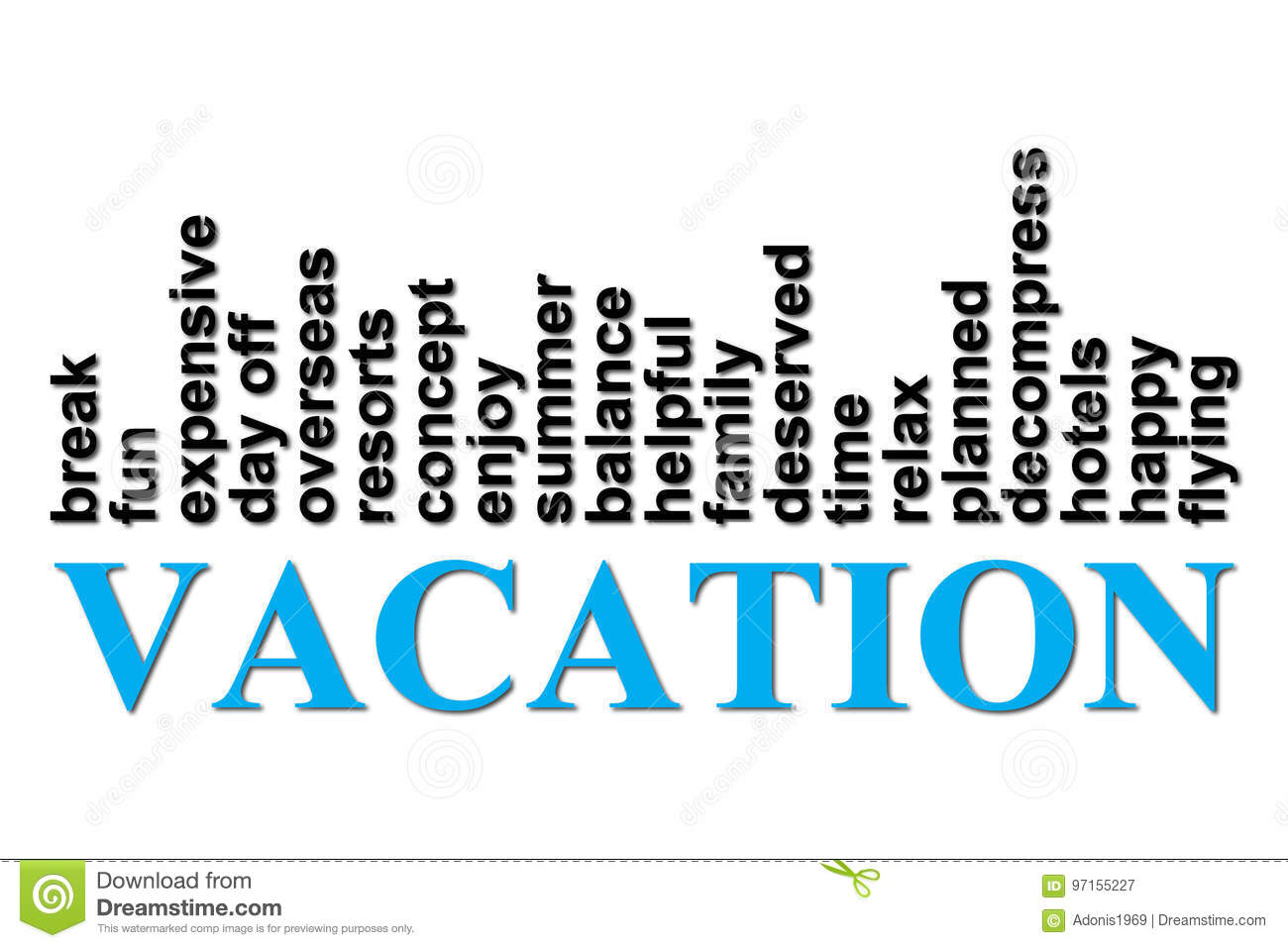Vacation Words Concept stock vector. Illustration of ...