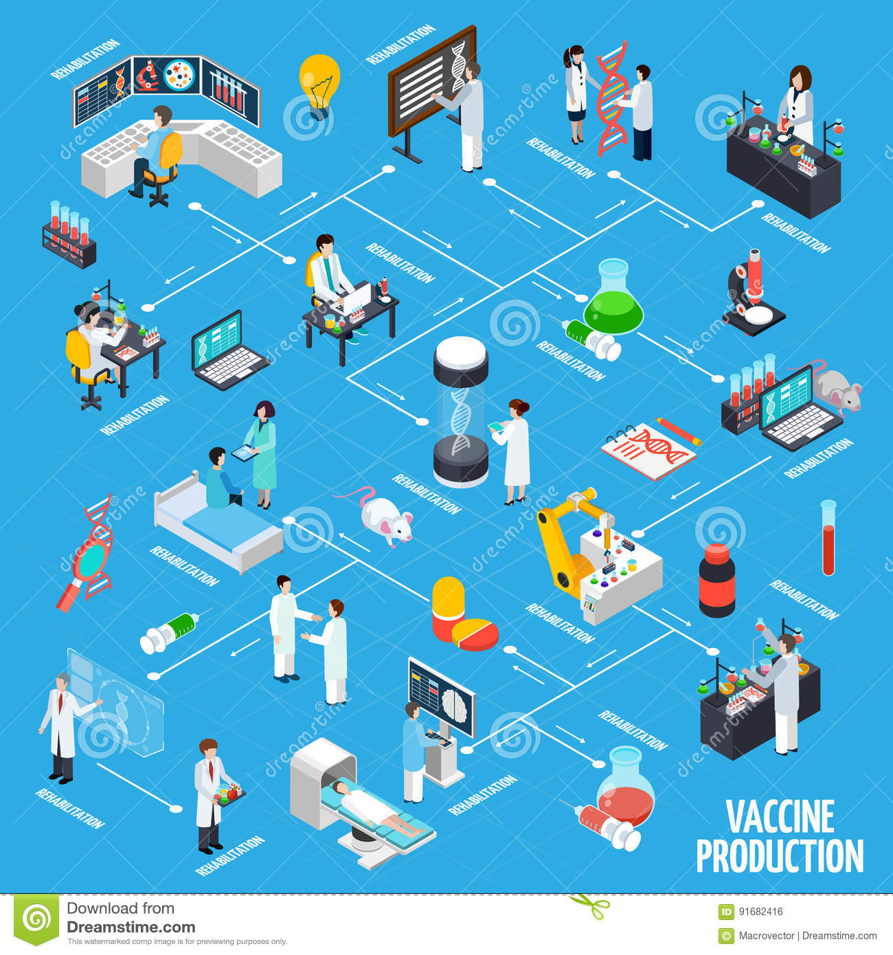 Vaccine Production Infographics Layout