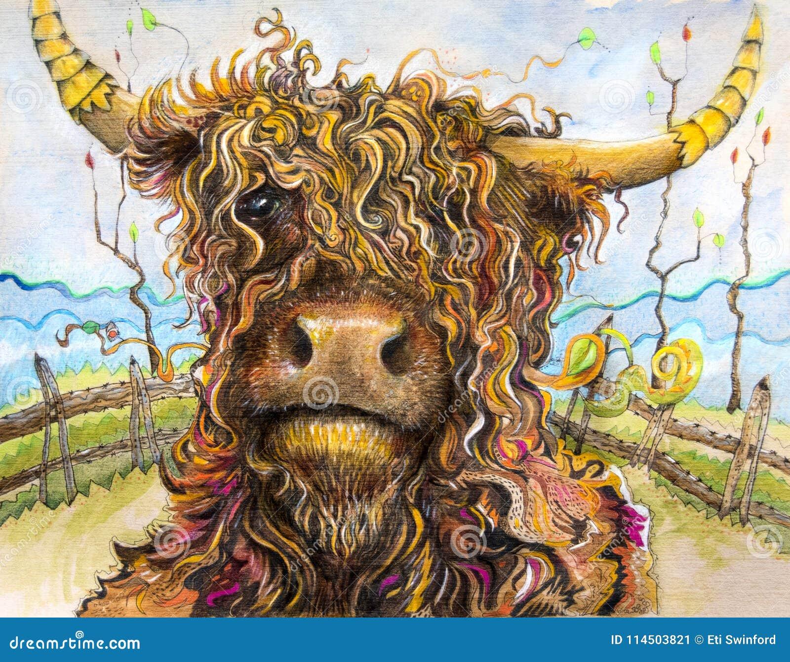 Vache Des Montagnes Avec L Art De Cheveux Boucles Illustration Stock Illustration Du Cheveux Boucles 114503821