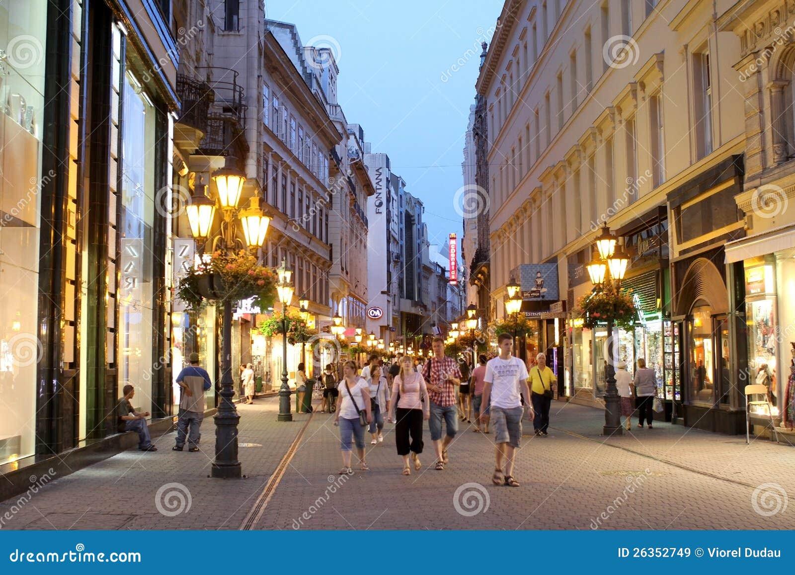 Vaci Utca Street Editorial Stock Image Image Of Tourists