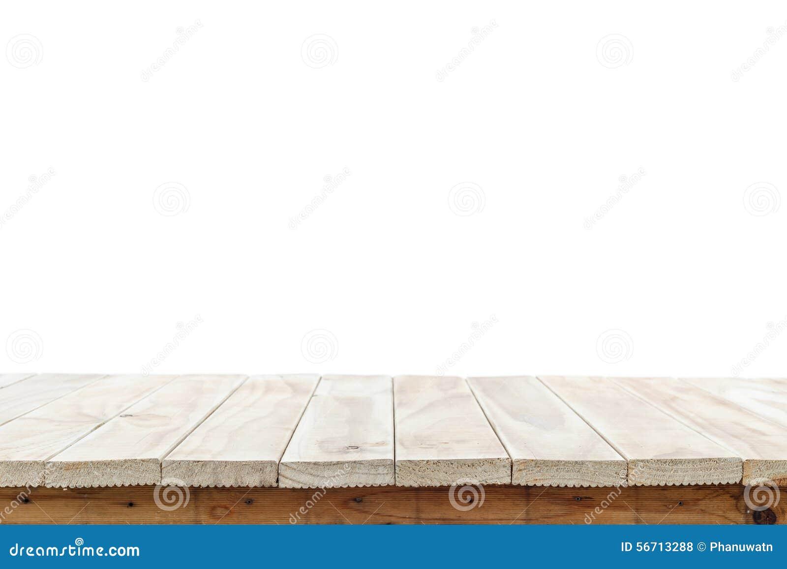 Vacie el top de la tabla o del contador de madera aislado en el backgroun blanco