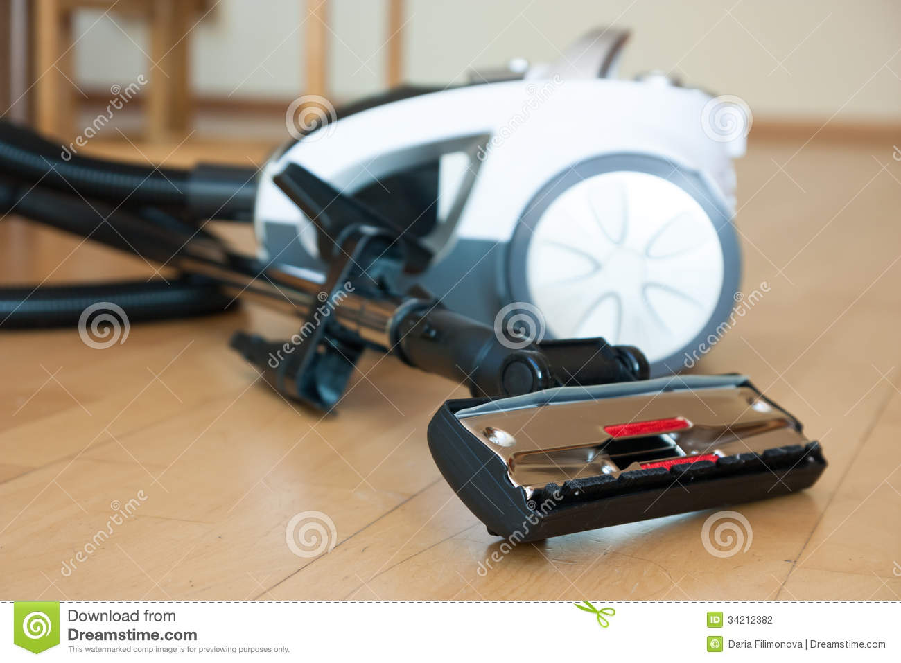 vacuum cleaner on parquet stock photography image 34212382
