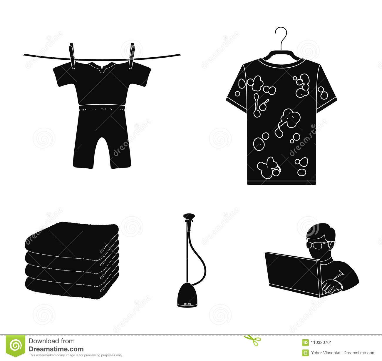 Vacuum cleaner a stack of cloth dirty and clean things dry vacuum cleaner a stack of cloth dirty and clean things dry cleaning set collection icons in black style vector symbol stock illustration buycottarizona Choice Image