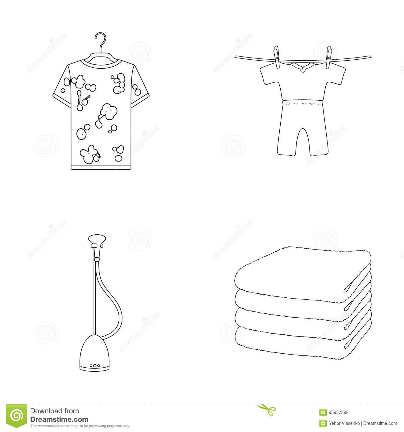 Vacuum cleaner a stack of cloth dirty and clean things dry vacuum cleaner a stack of cloth dirty and clean things dry cleaning set collection icons in outline style vector biocorpaavc Choice Image