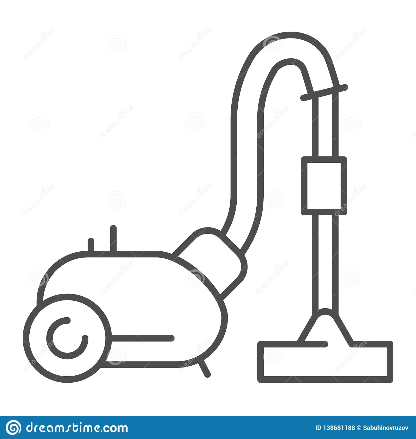 Vacuum cleaner thin line icon. Home appliance vector illustration isolated on white. Cleanup outline style design