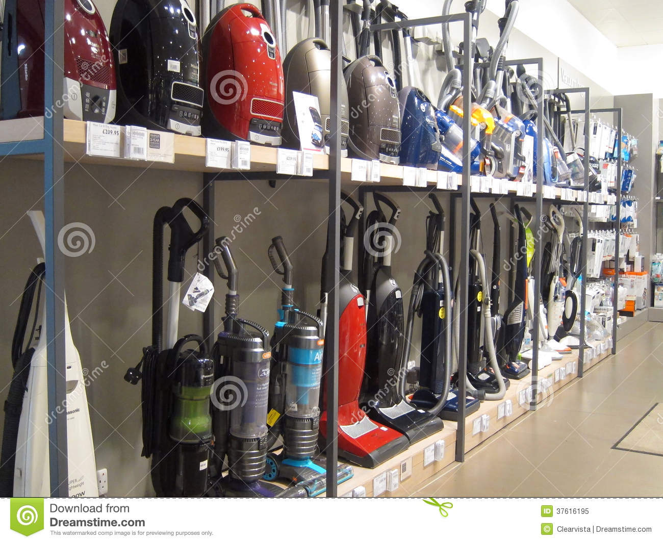 vacuum cleaners or hoovers for sale in a store  editorial
