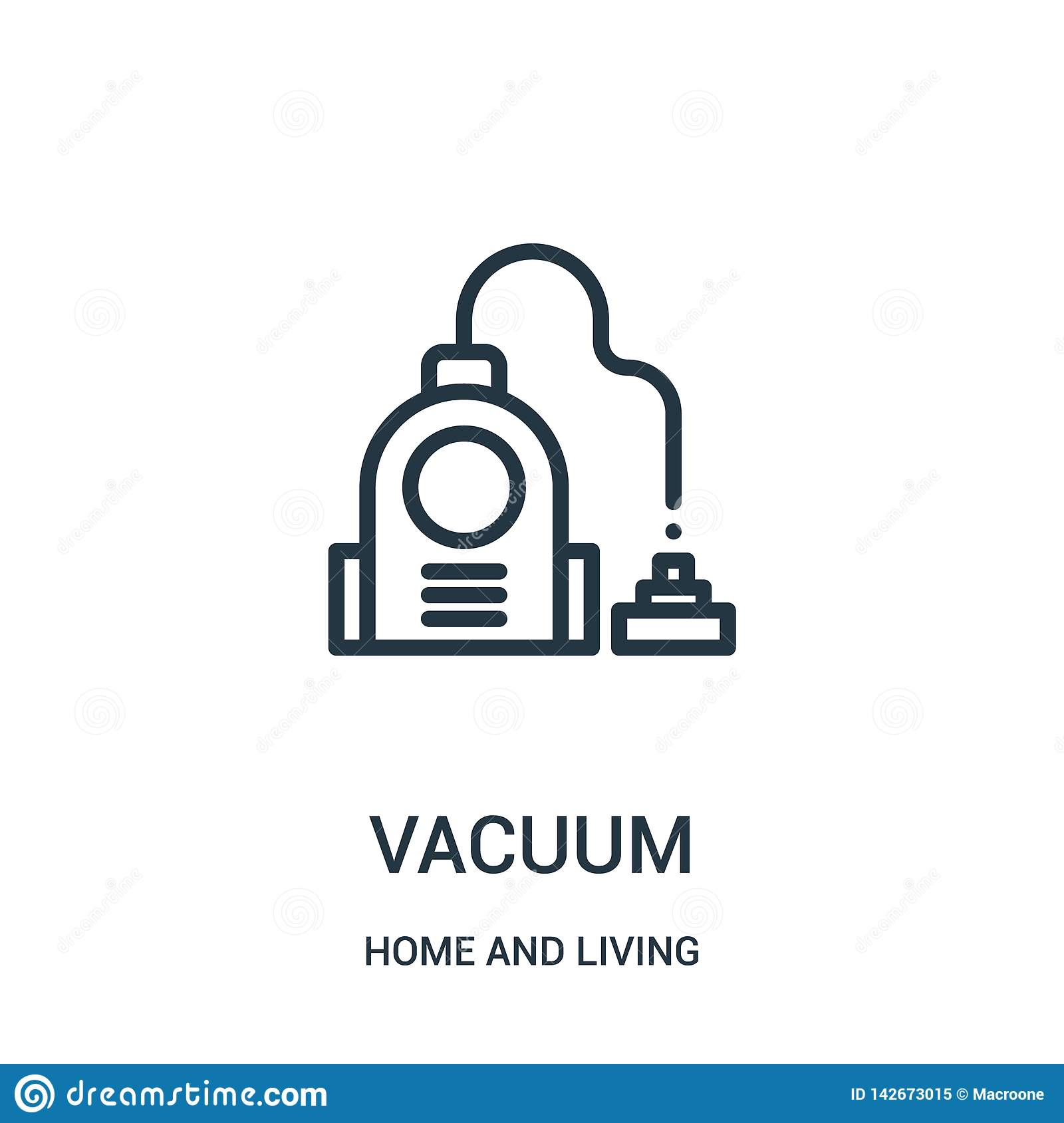 vacuum icon vector from home and living collection. Thin line vacuum outline icon vector illustration. Linear symbol for use on