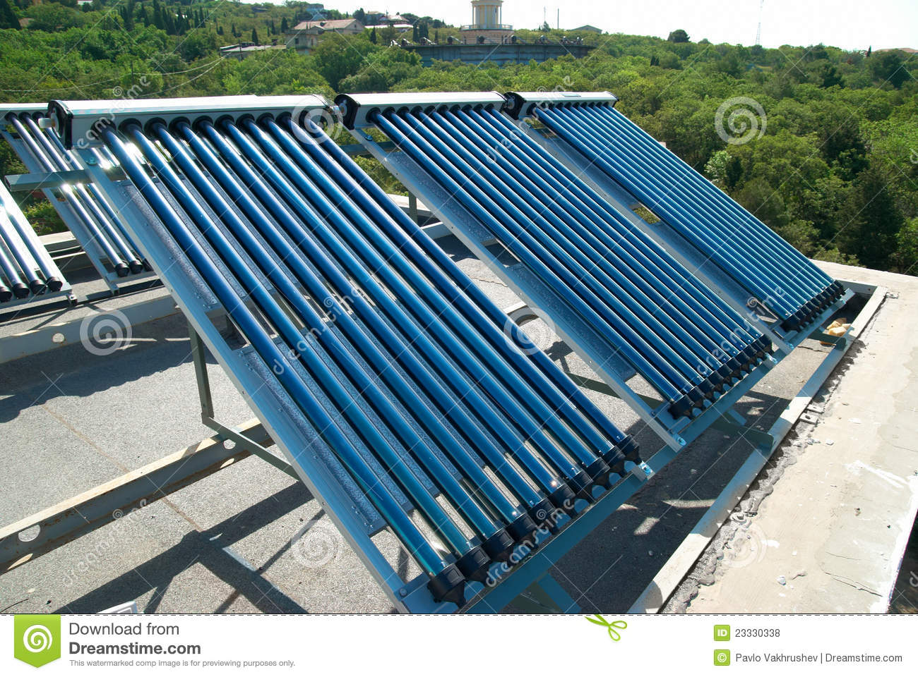 Vacuum Solar Water Heating System Royalty Free Stock Photos Image  #0F456F