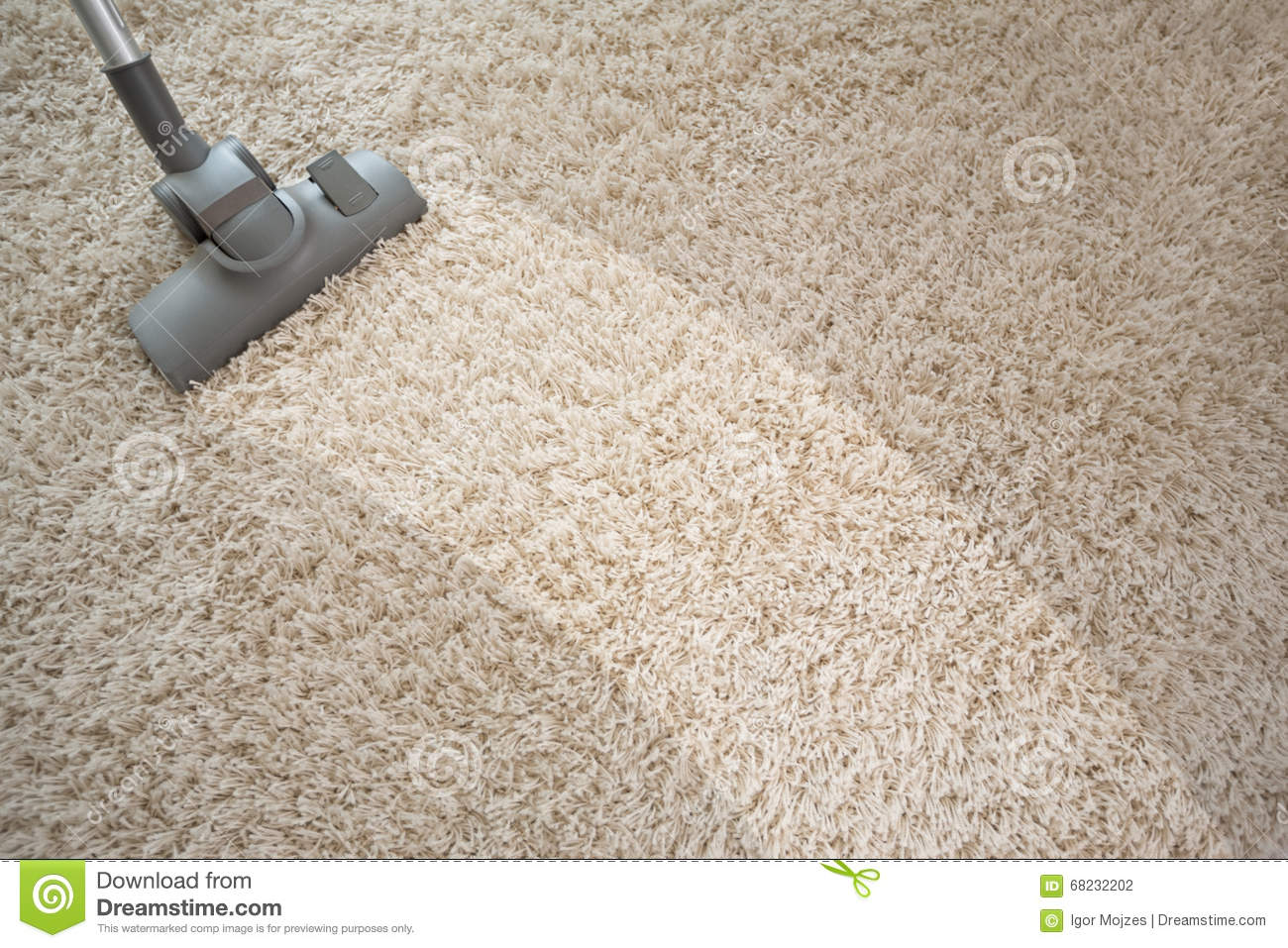 Vacuuming Rough Carpet With Vacuum Cleaner Stock Photo