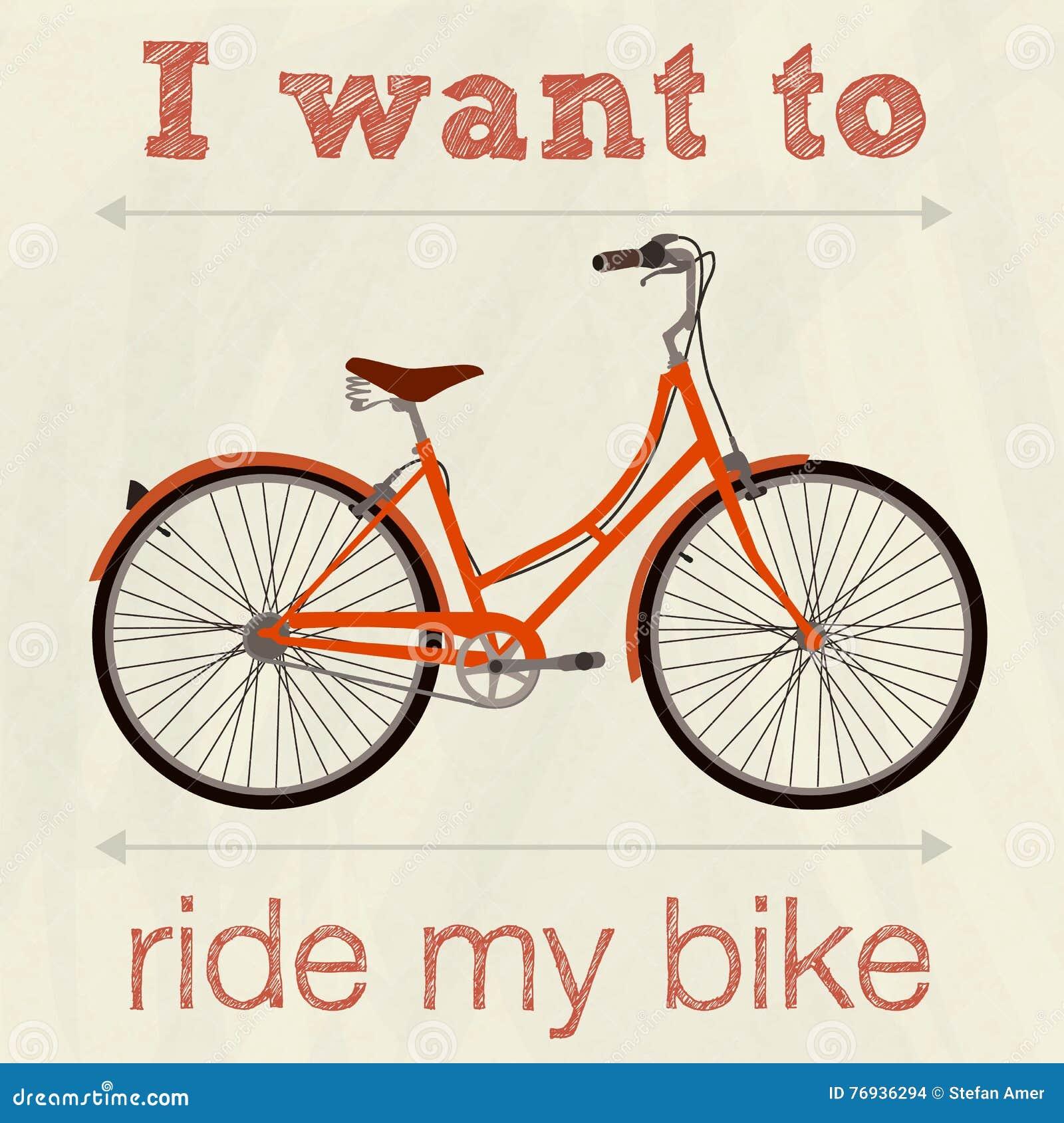 Vada In Bicicletta Retro Manifesto Dellillustrazione Io Vogliono