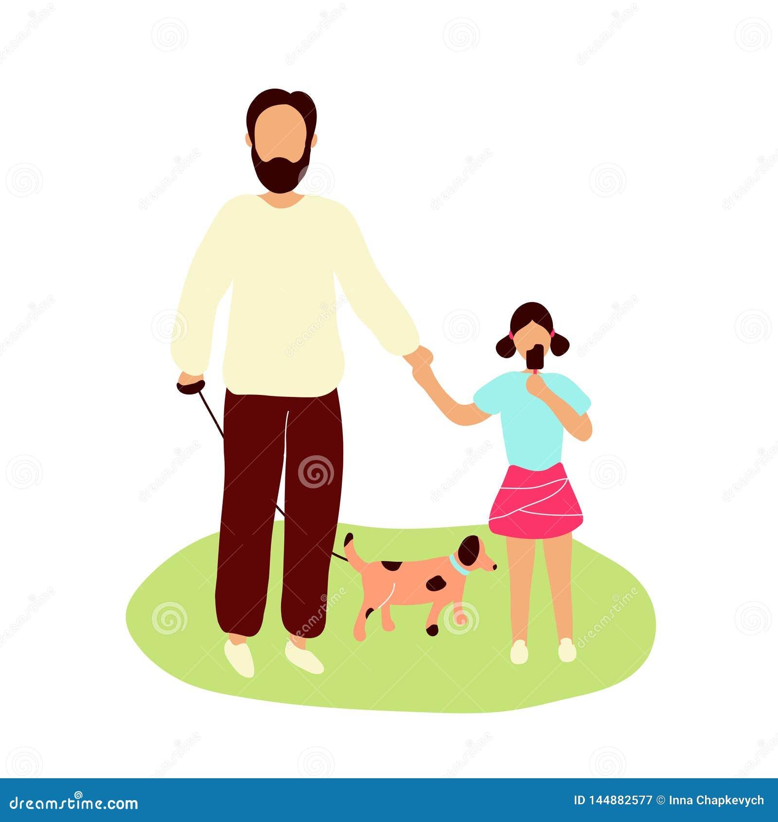 Vader die met weinig dochter loopt