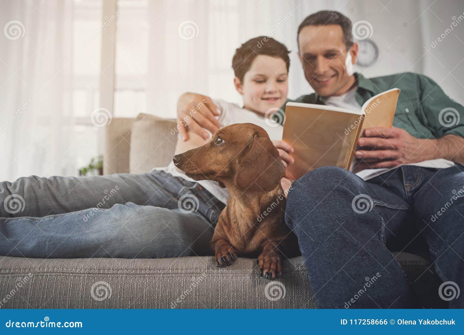 Vader en zoonslezingsboek dichtbij puppy