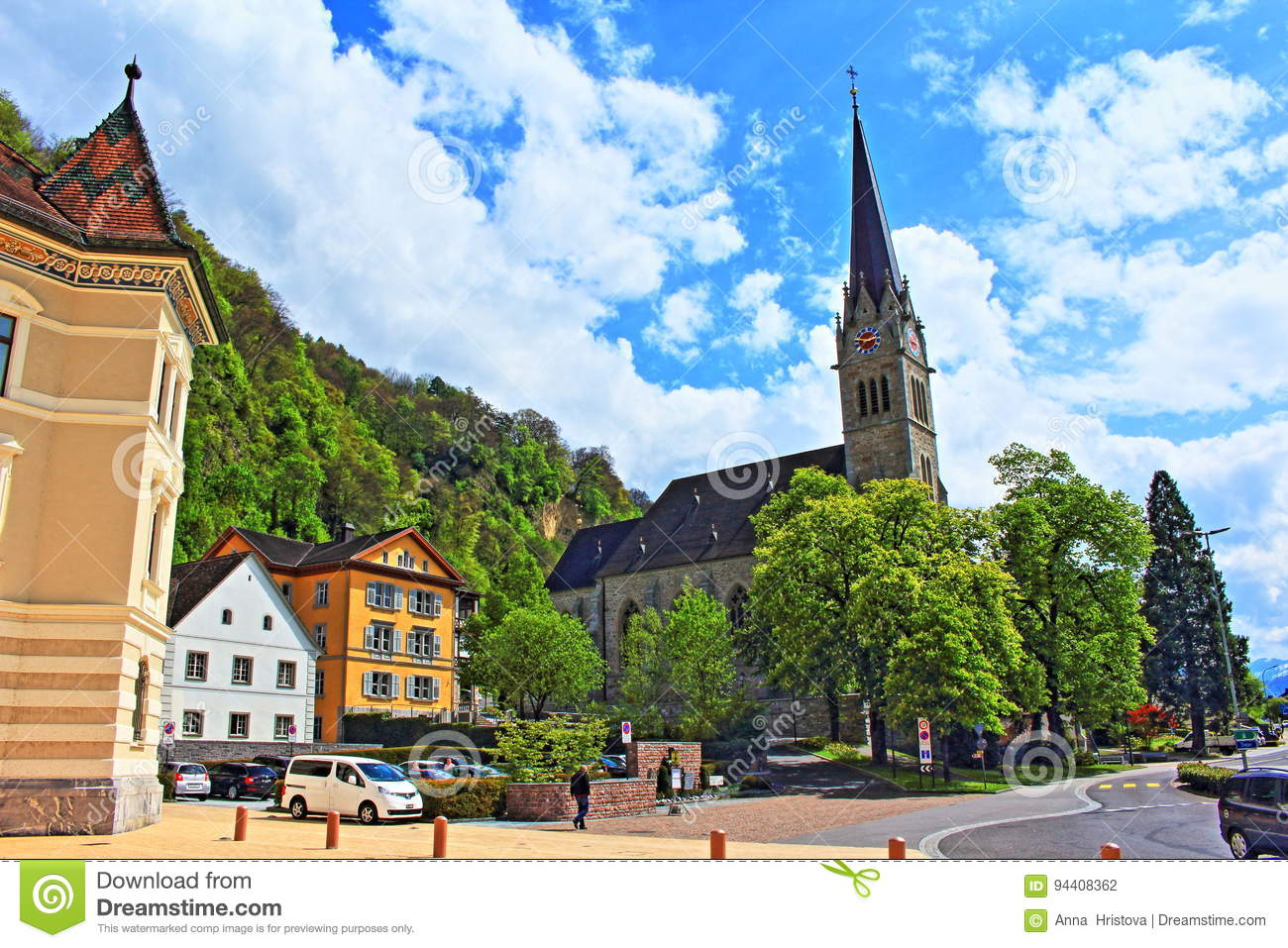 View From The Main Square In Vaduz Liechtenstein Capital City With Cathedral Of St FlorinPhoto Taken On May 3rd2017