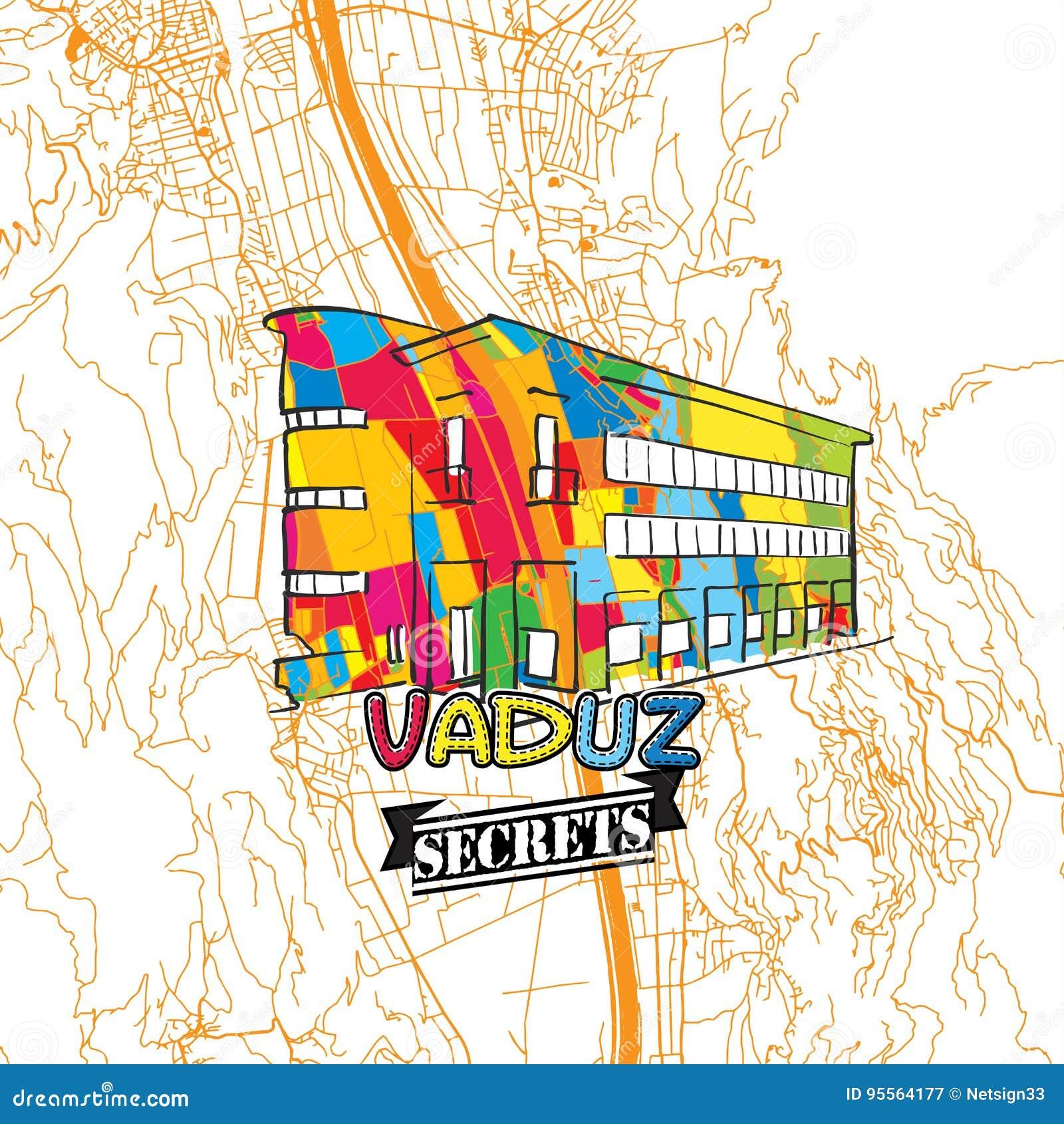 Vaduz Reise Geheimnisse Art Map Vektor Abbildung Illustration Von Geheimnisse Reise 95564177