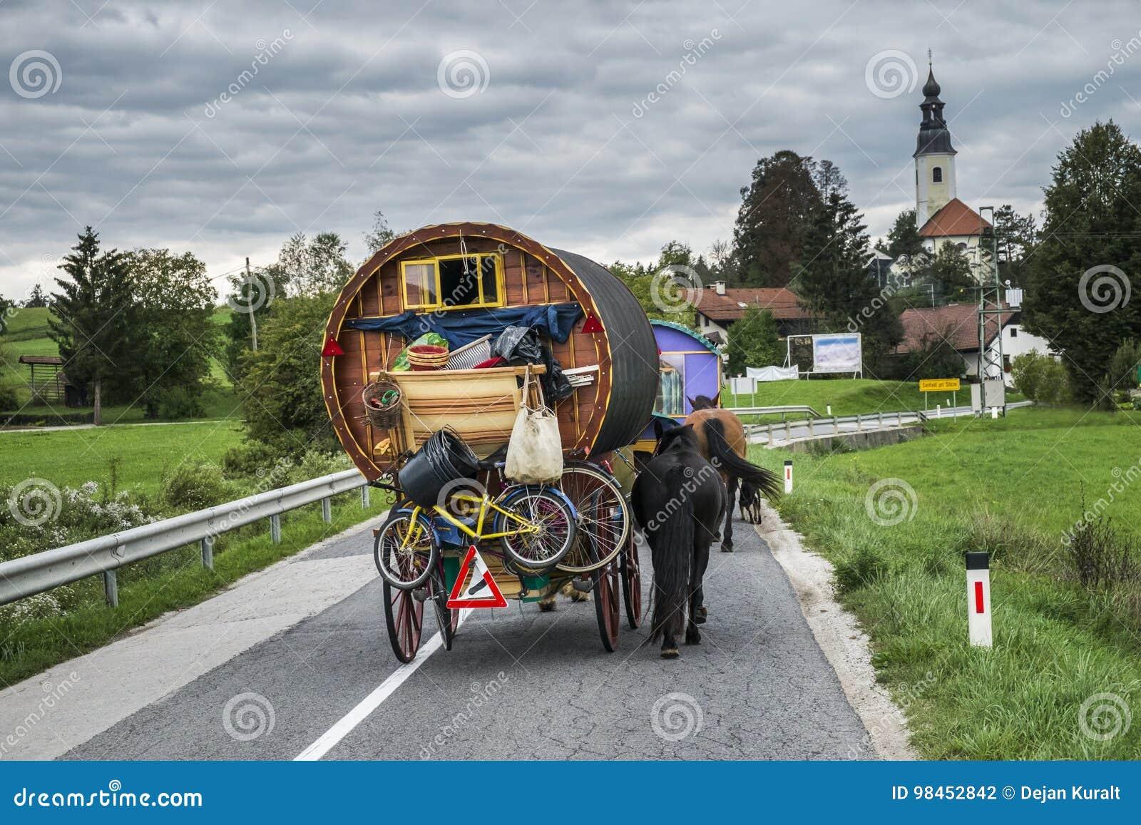 Vagão puxado a cavalo na estrada