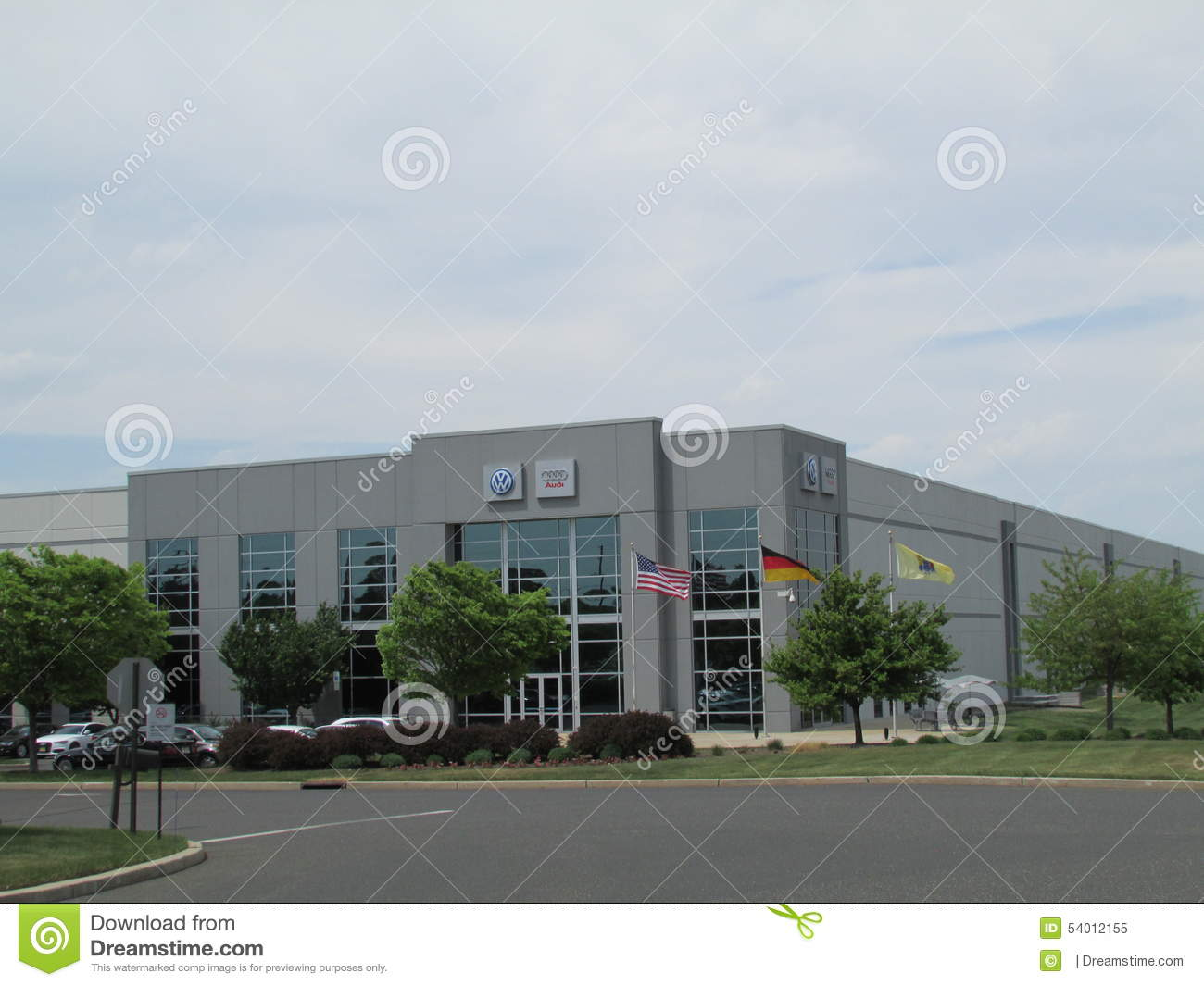 vag vw audi distribution center in nj flags of usa germany and state of new jersey editorial. Black Bedroom Furniture Sets. Home Design Ideas