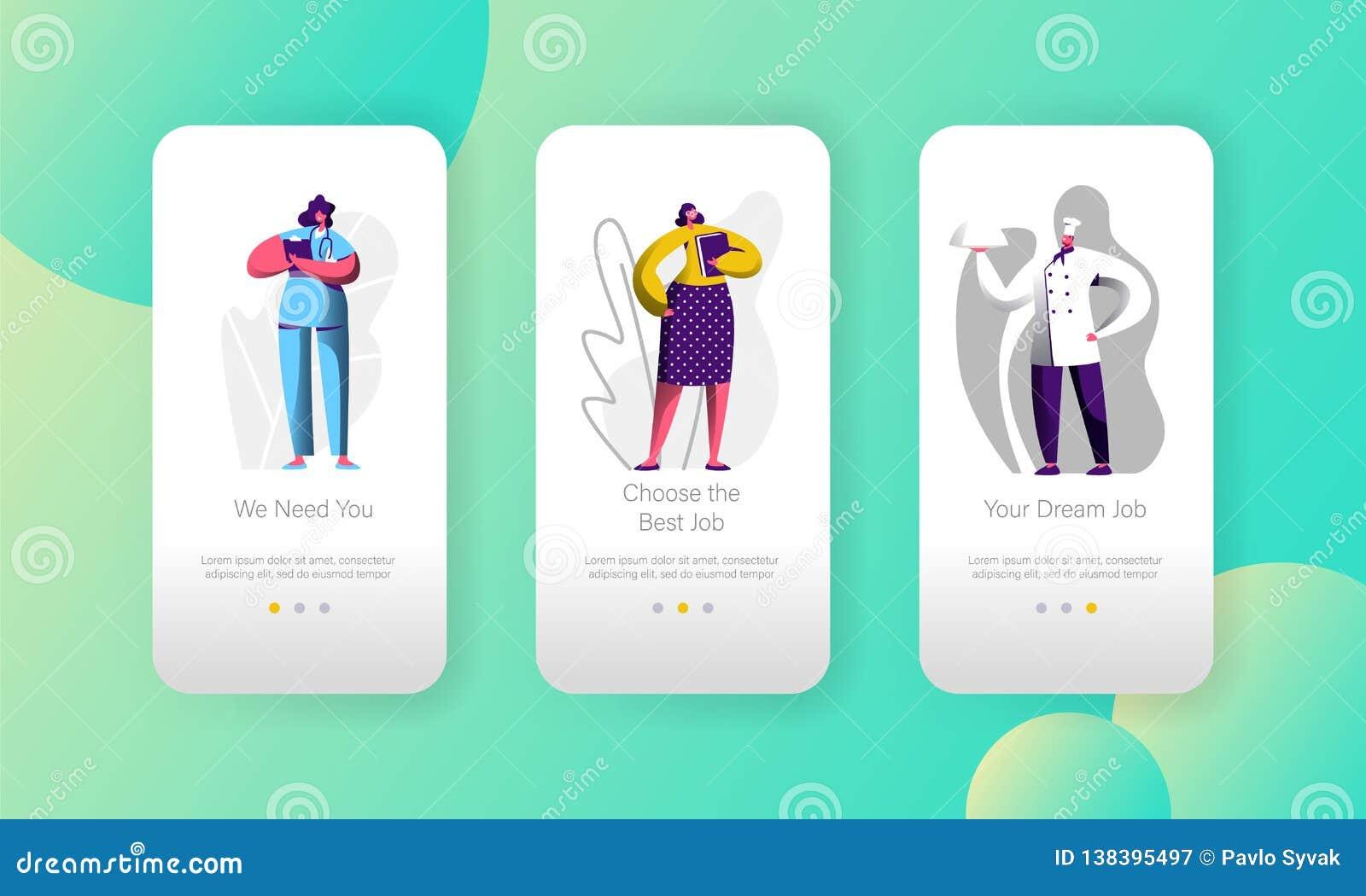 A vaga de trabalho diferente escolhe da página móvel do App do caráter da oportunidade o grupo a bordo da tela Cozinheiro chefe e