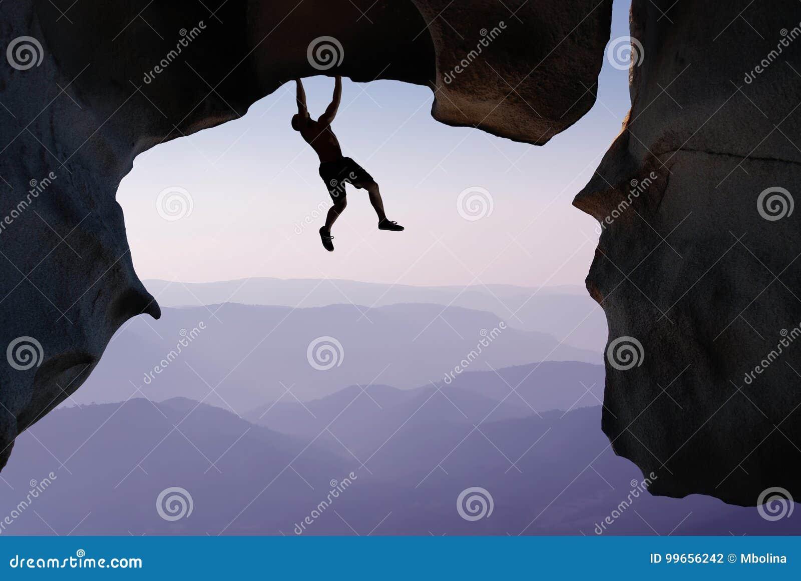Vagga extrema sport- och för bergklättringen begrepp för klättraren