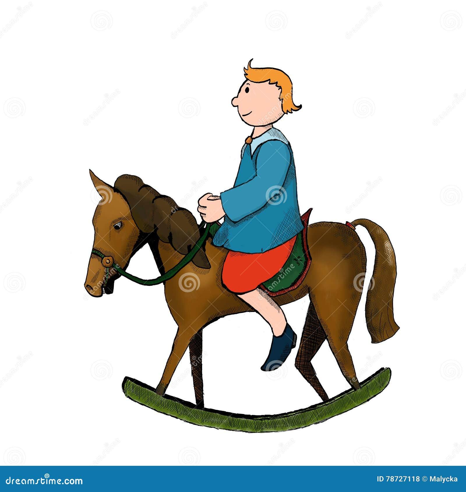 Vagga hästen med pojken