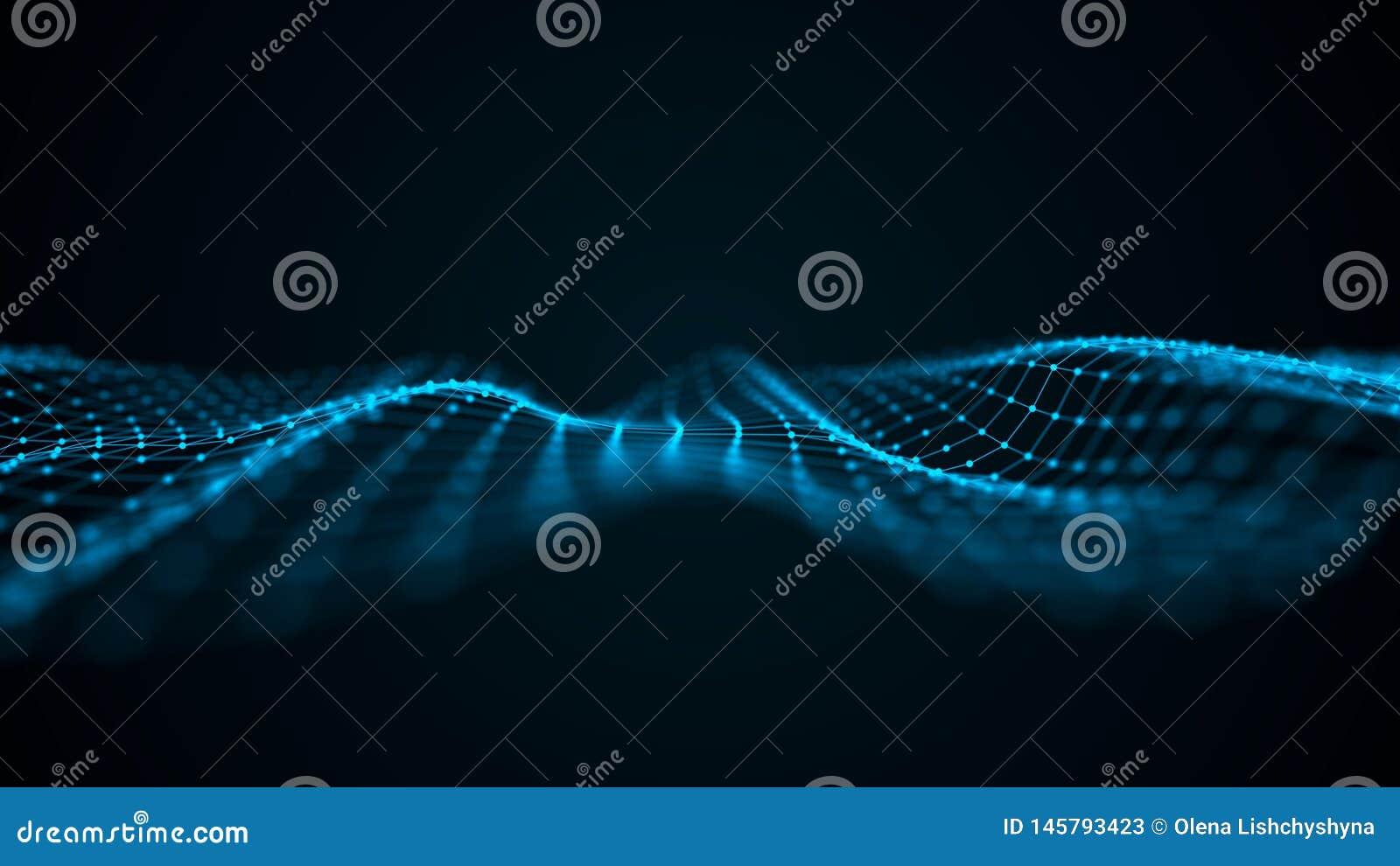 Vague futuriste de point Fond abstrait avec une vague dynamique Illustration de technologie de donn?es