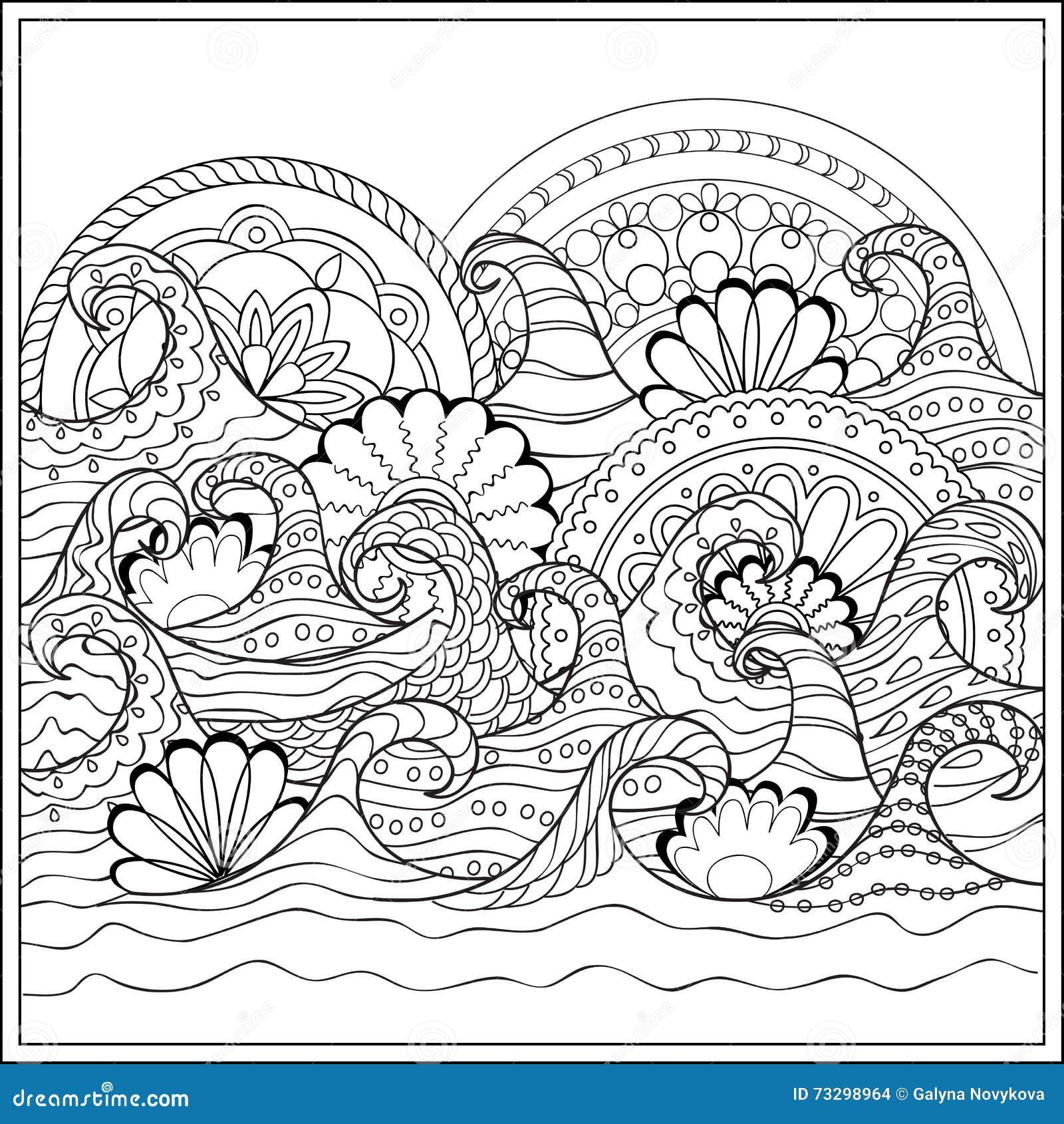 vagues avec des mandalas illustration de vecteur