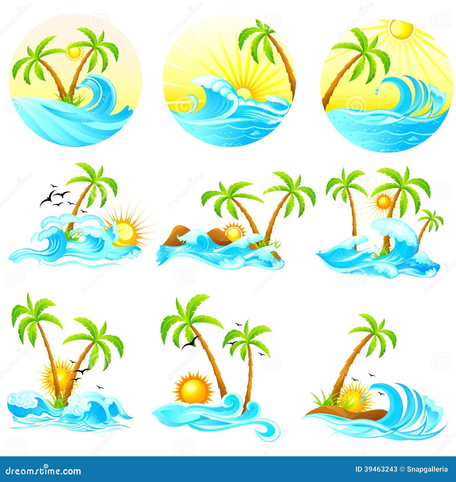 Vagues avec le palmier