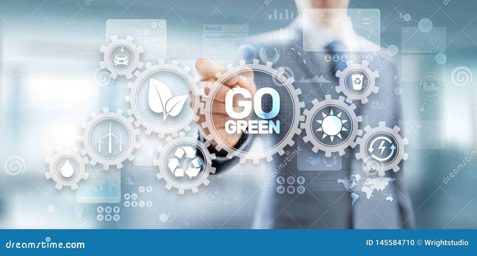 VAI o planeta verde da terra da ecologia da tecnologia do eco que salvar a energia alternativa Botão na tela virtual