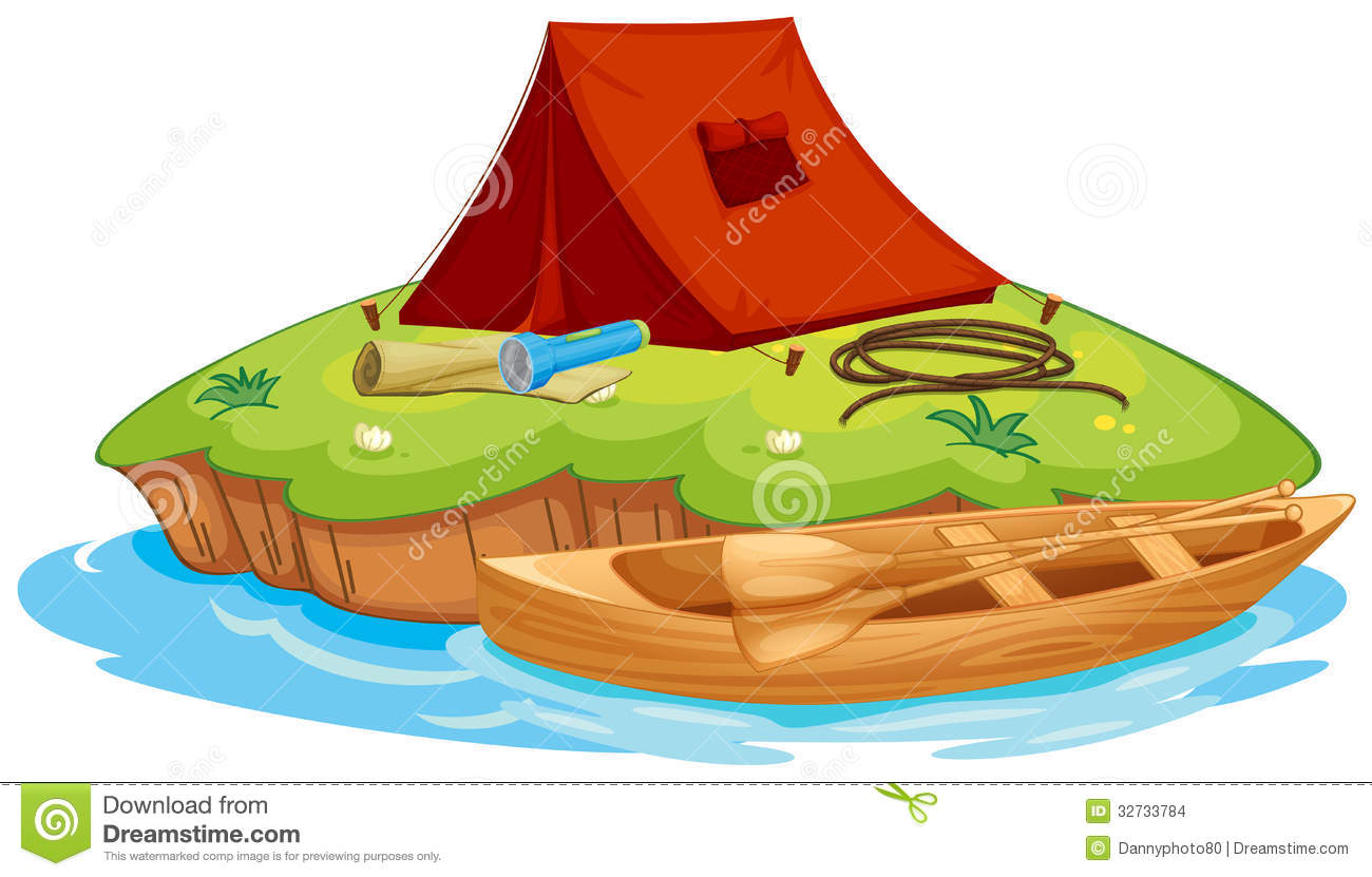 Vaious Objects For Camping And A Canoe Vector Illustration ...
