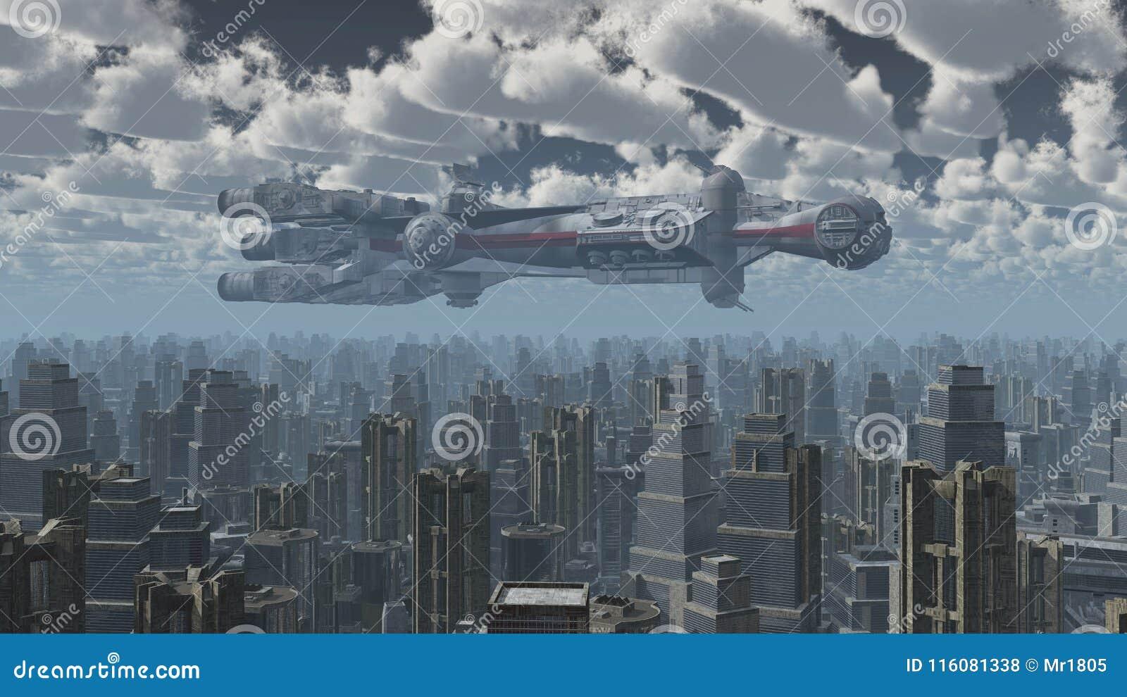 Vaisseau spatial énorme au-dessus d une grande ville