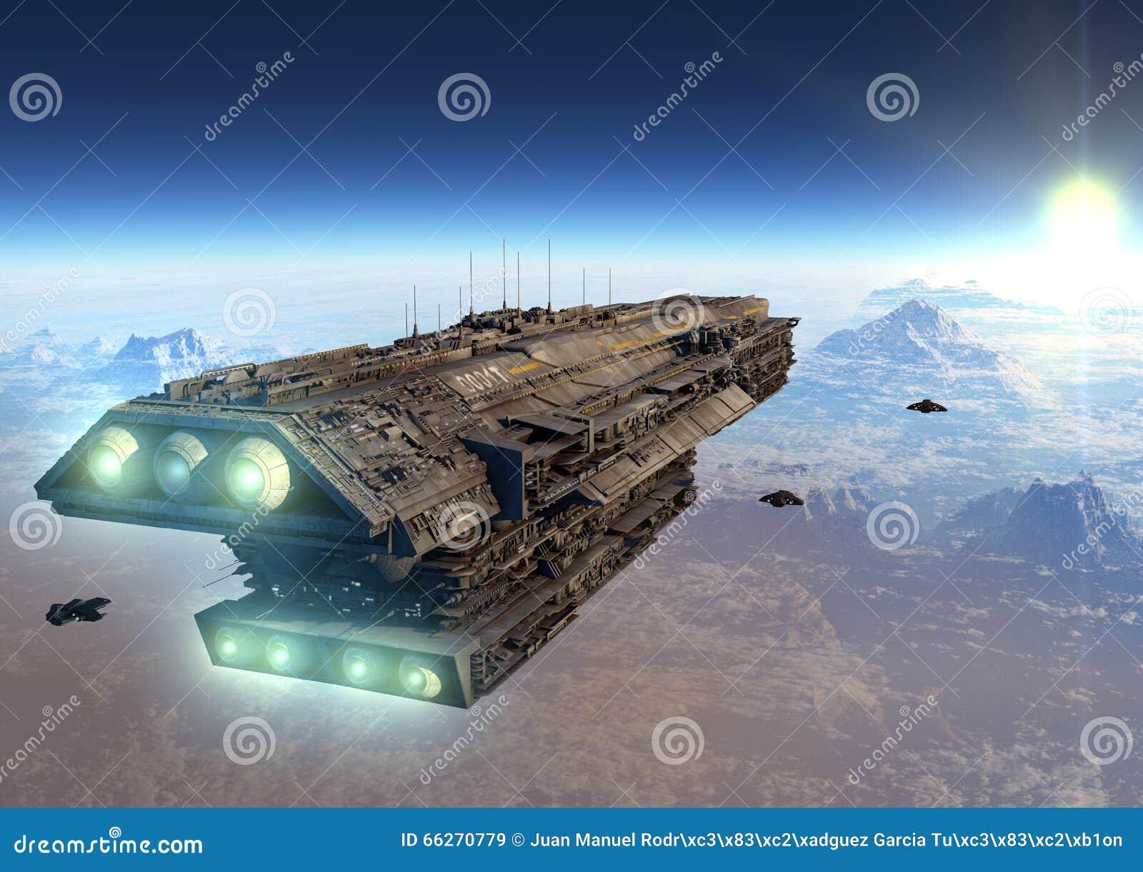 Vaisseau spatial de la science fiction illustration stock image 66270779 - Objet de science fiction ...