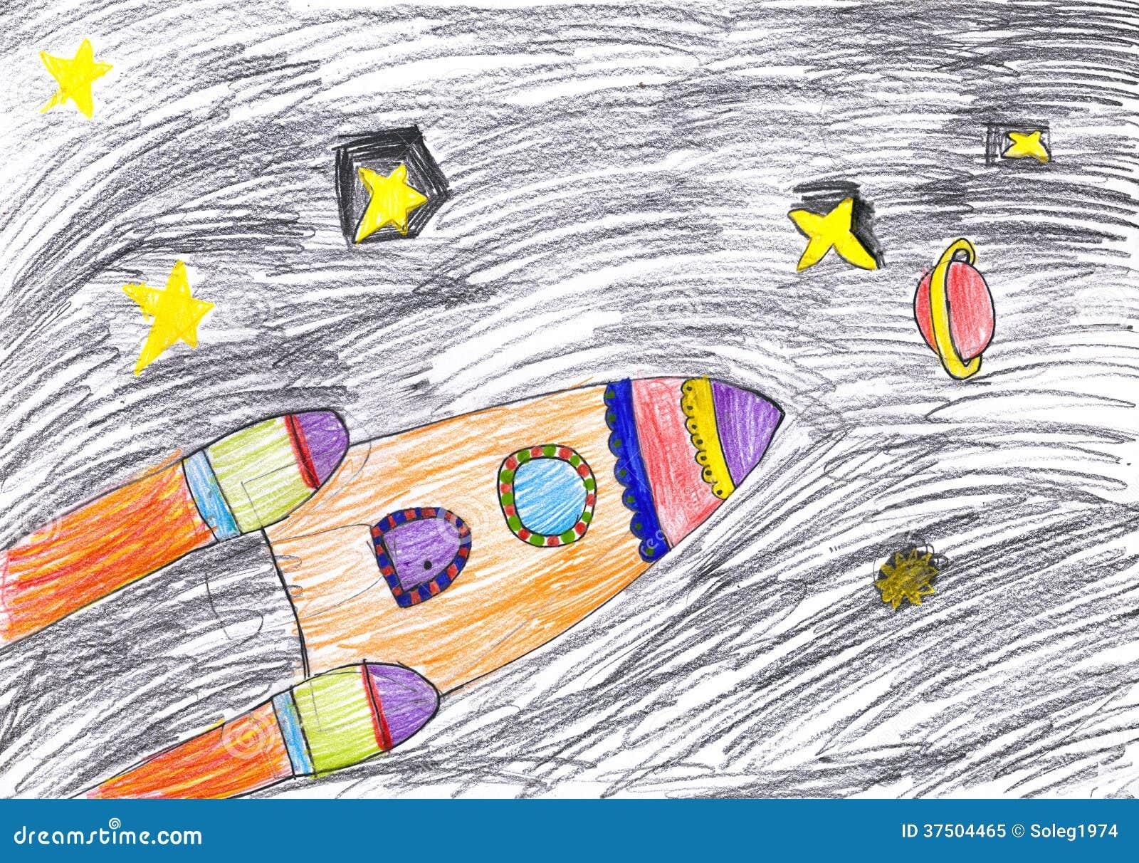 Vaisseau spatial dessin d 39 enfant illustration stock illustration du fus e enfantin 37504465 - Dessin vaisseau spatial ...