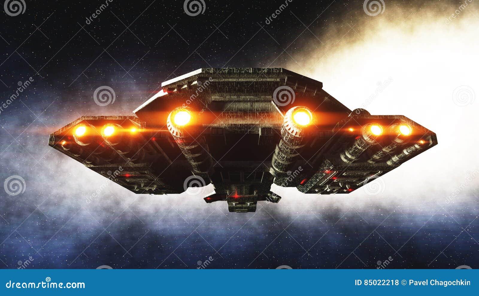 Vaisseau spatial futuriste dedans Vue de wonderfull de planète de la terre surface réaliste en métal rendu 3d