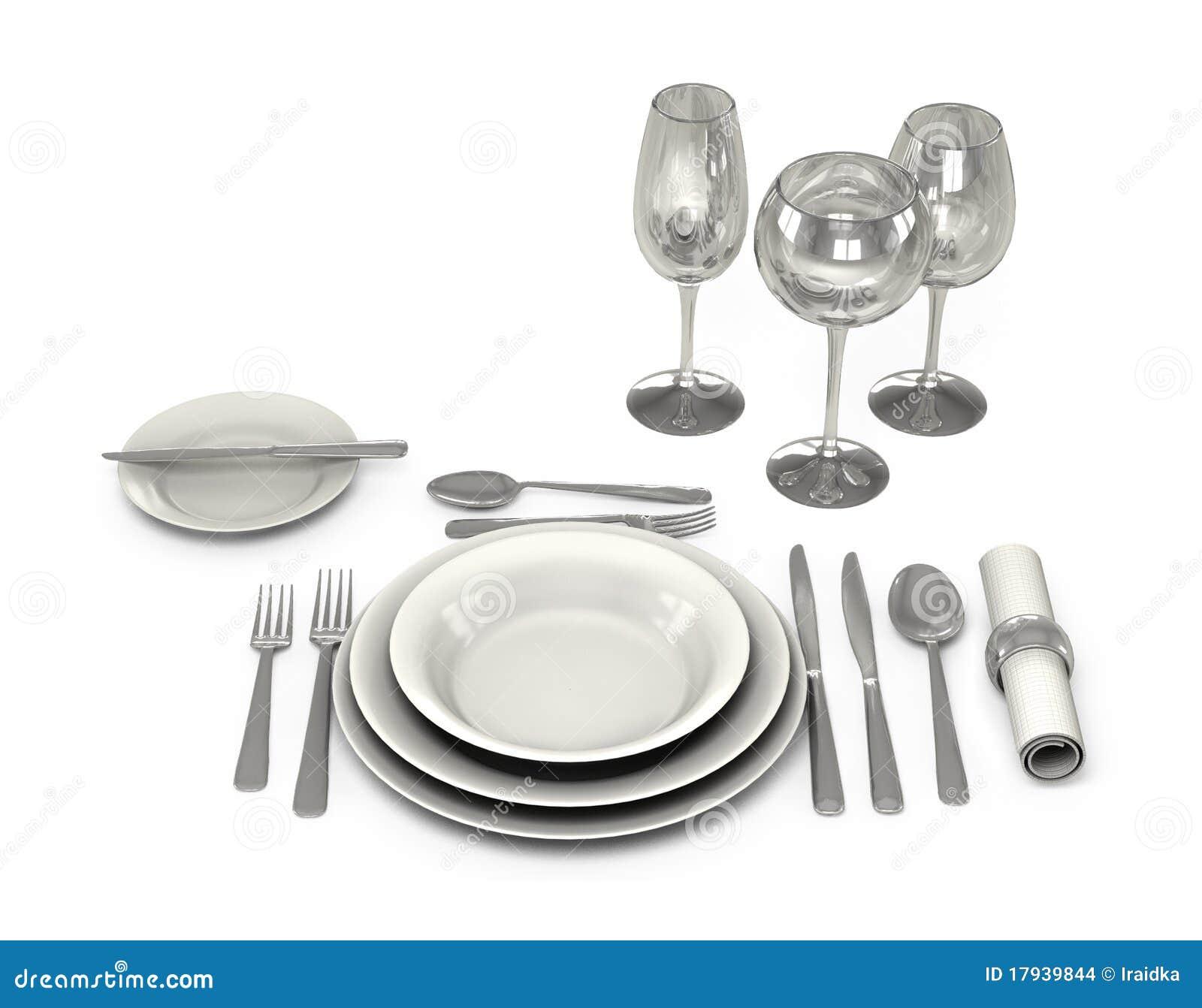vaisselle classique dans le restaurant illustration stock