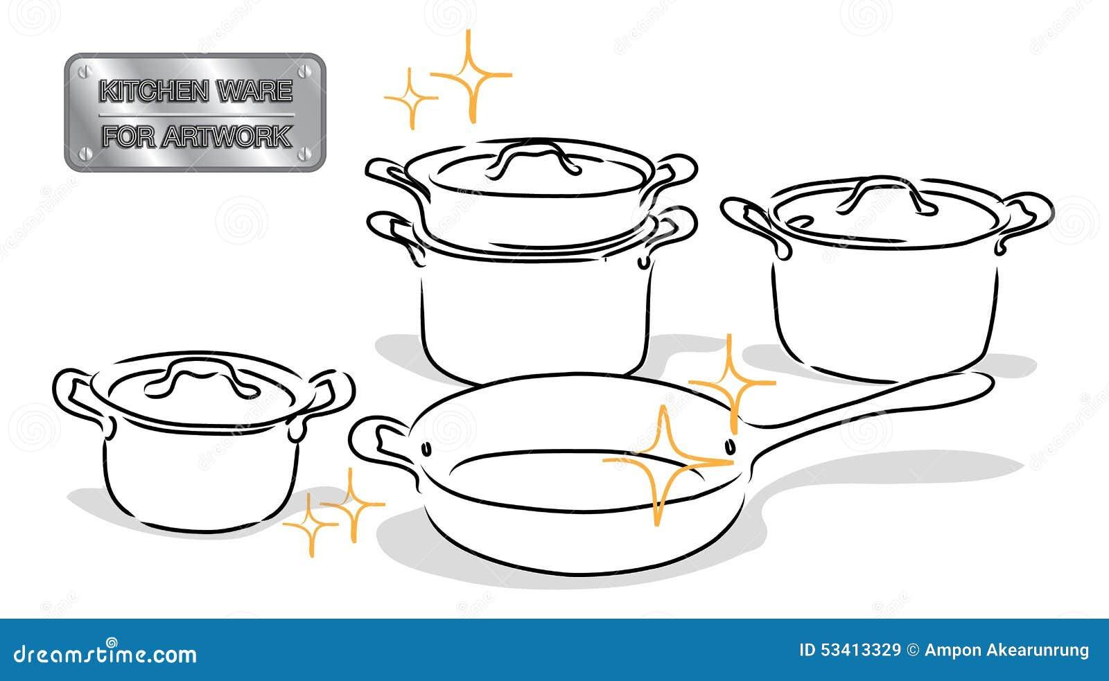Vaisselle De Cuisine De Dessin Illustration De Vecteur