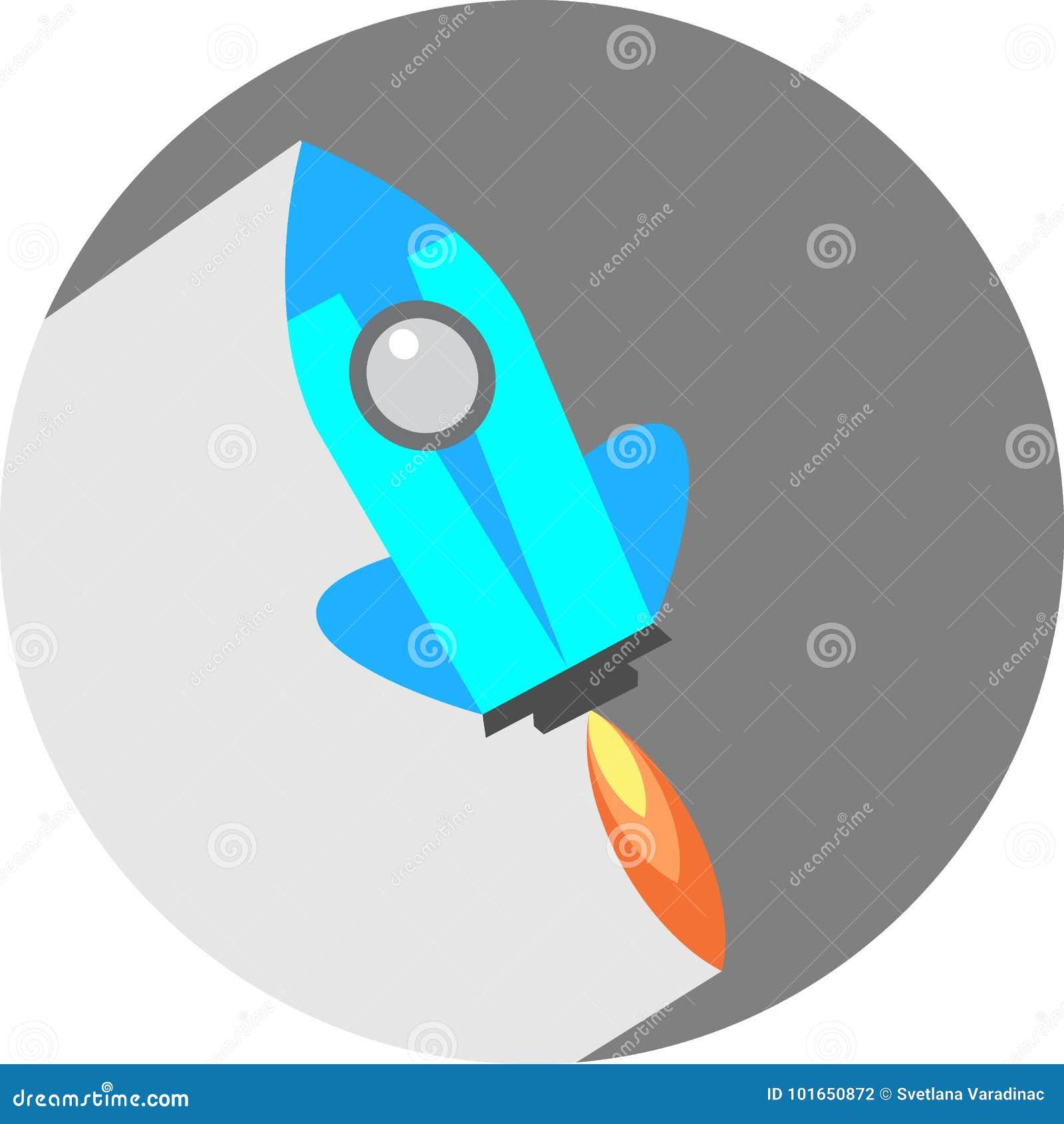 Vaivém espacial liso Rocket Circle Icon com sombra longa