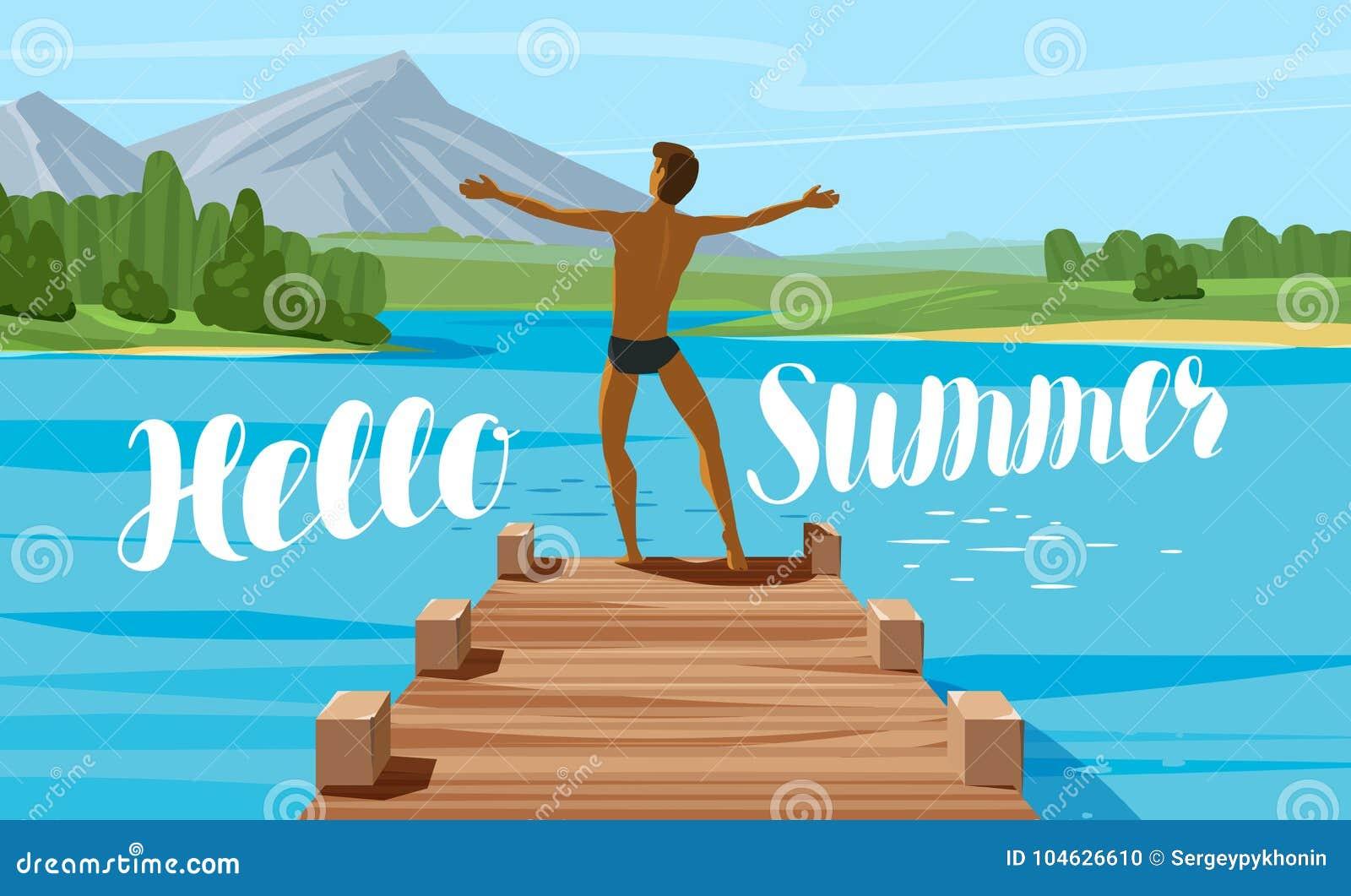 Download Vakantie, Reis, Reisconcept Hello-de Zomer Het Van Letters Voorzien Vector Illustratie Vector Illustratie - Illustratie bestaande uit kamp, concept: 104626610