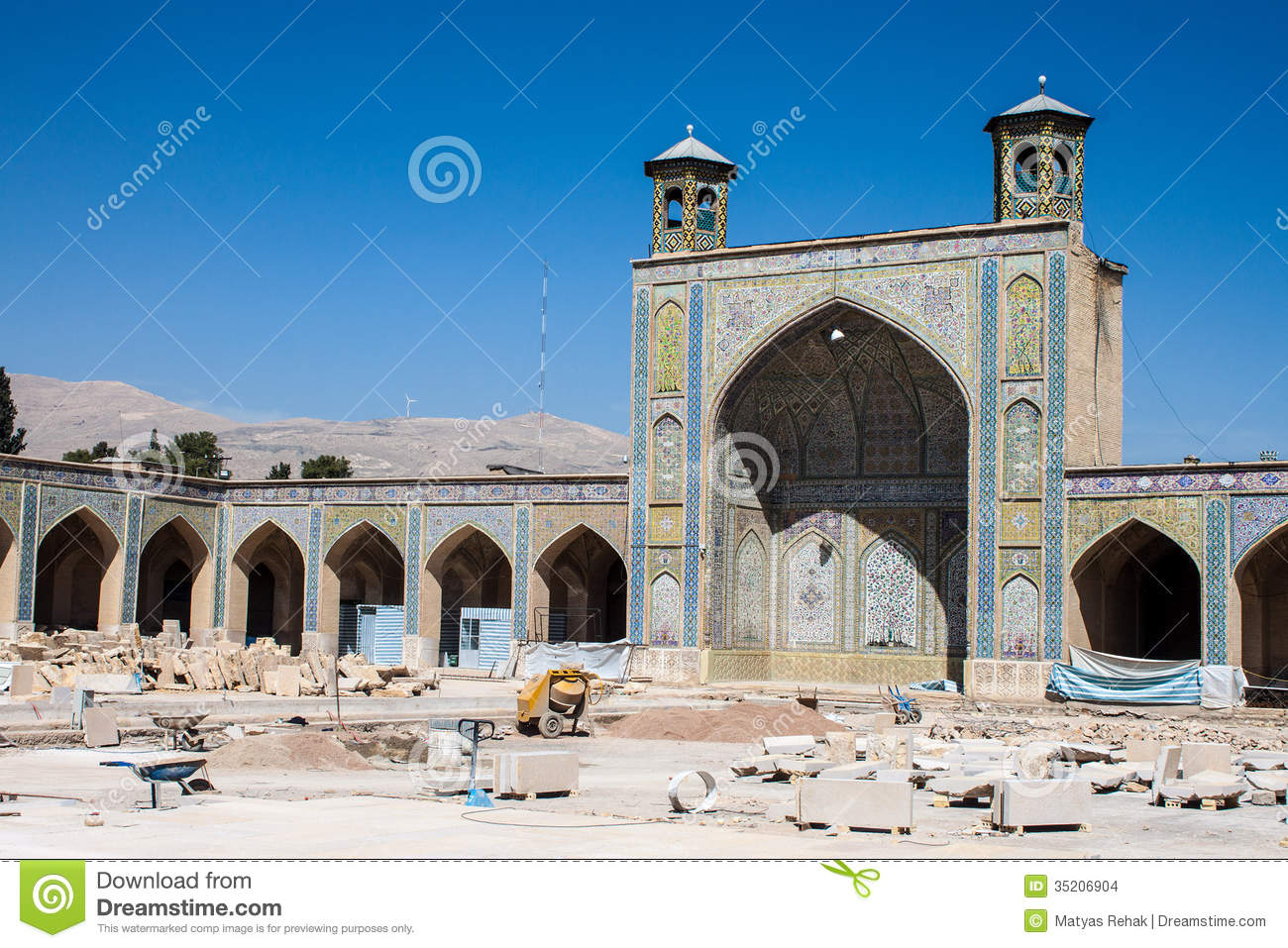 Vakil Mosque Under Reconstruction Stock Photo