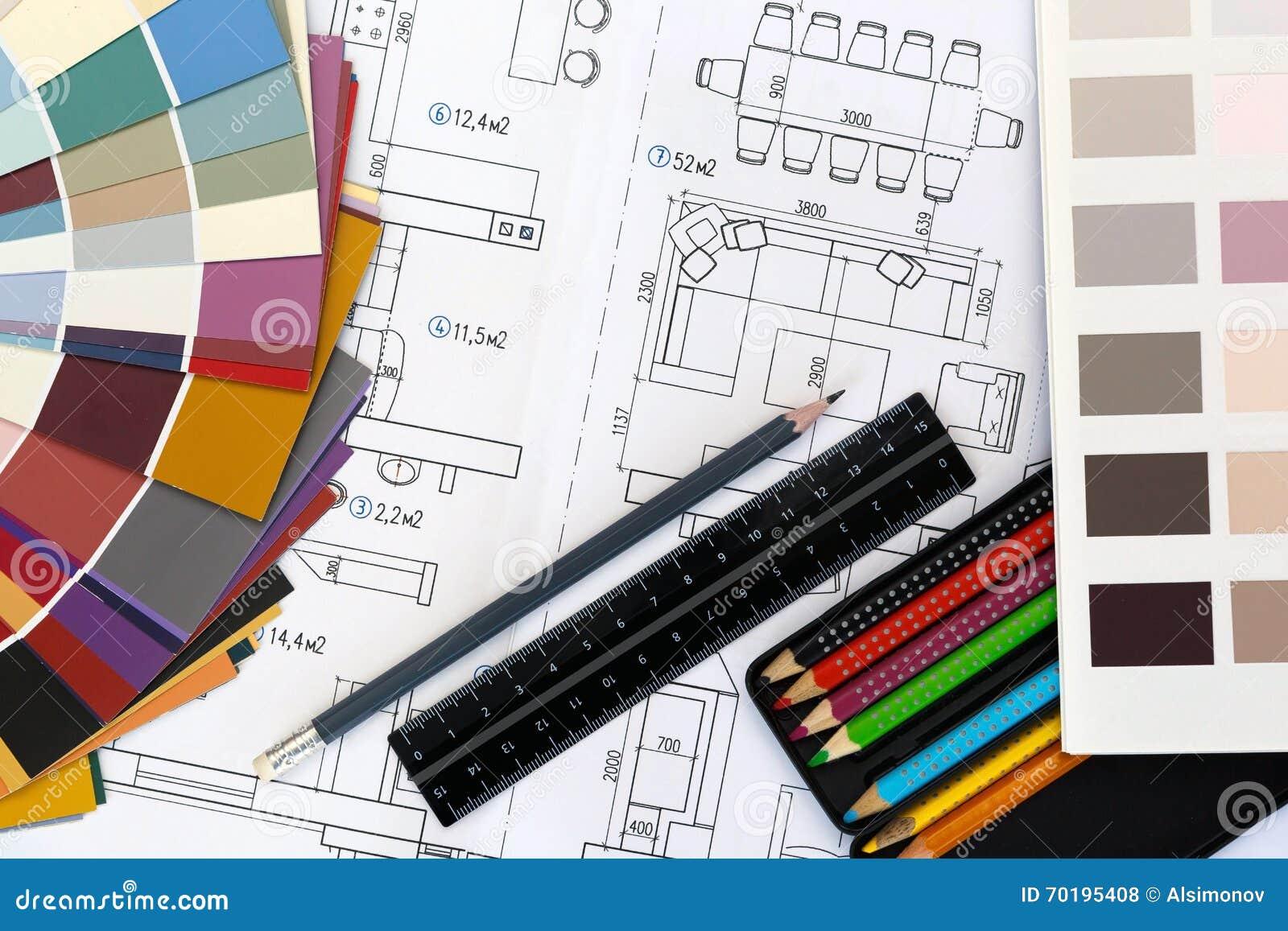 Val av färger och material för design och hem- renovering