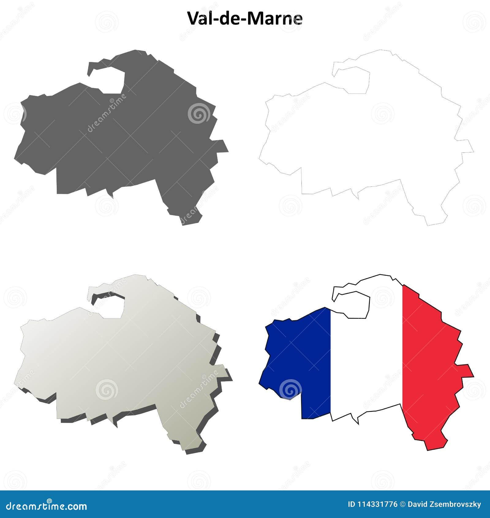 Map Of France Outline Only.Val De Marne Ile De France Outline Map Set Stock Vector