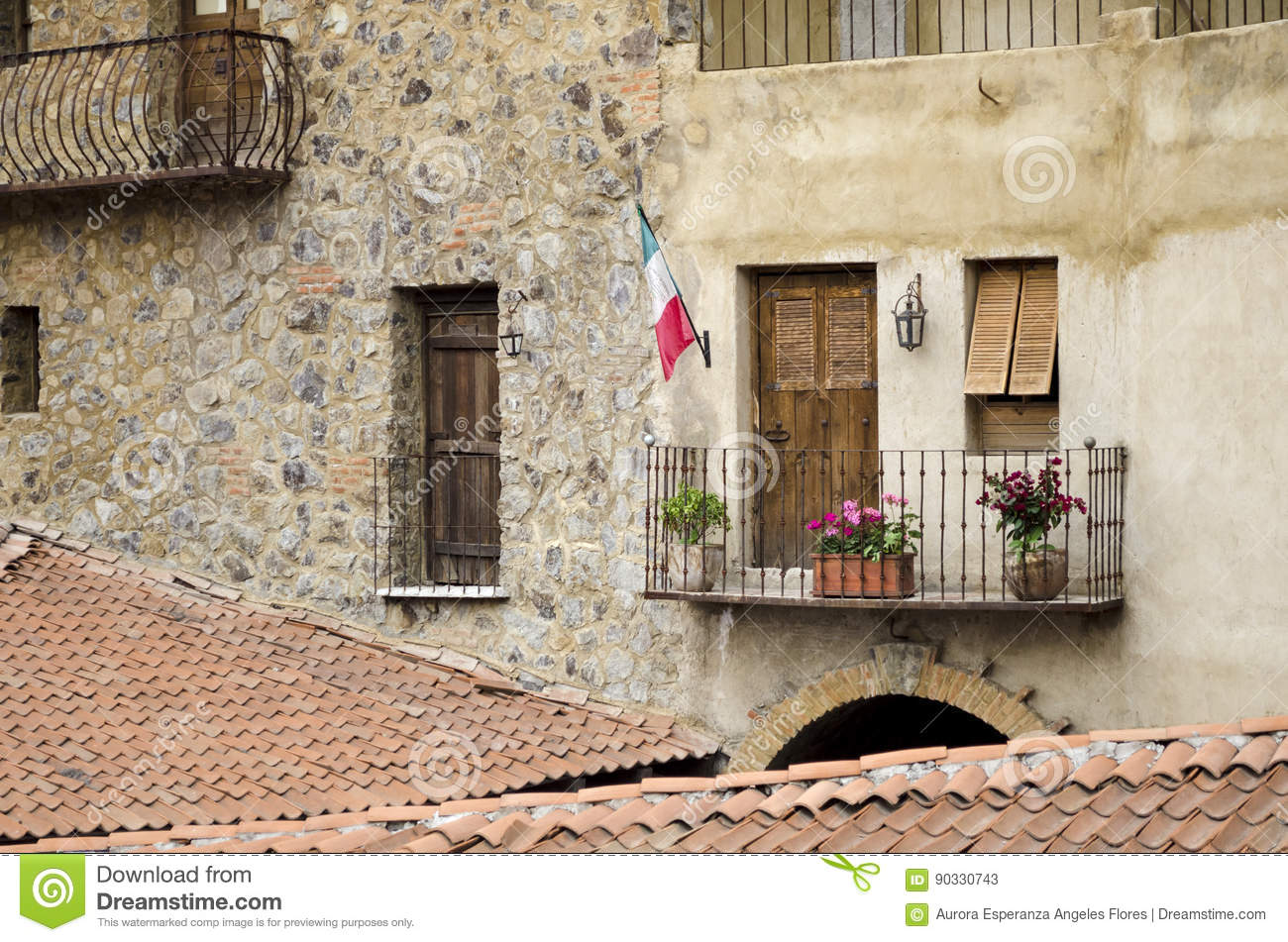 Balcony In Marble Wall : Val`quirico tlaxcala mexico editorial stock photo