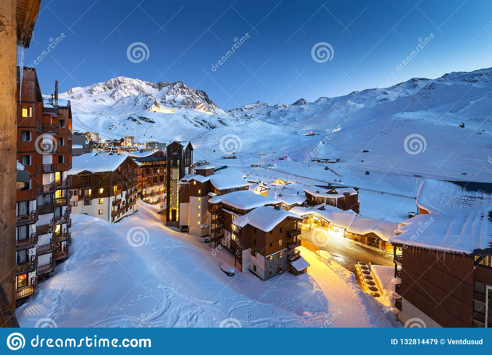 Val Thorens in France stock image. Image of station - 132814479