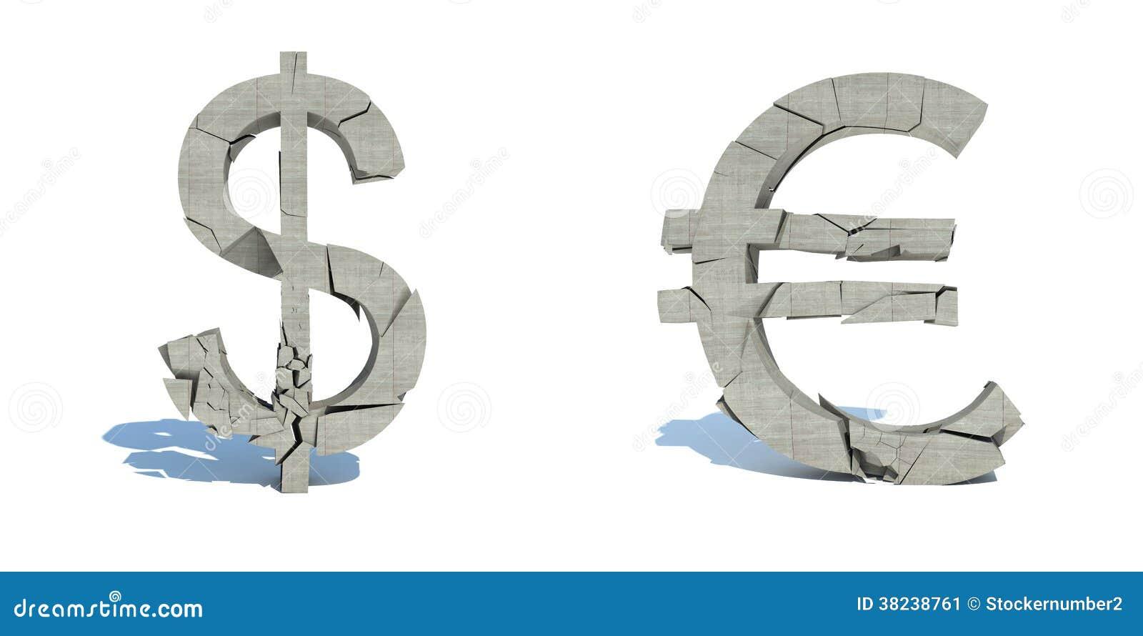 Val van de dollar en de euro, verbrijzeling