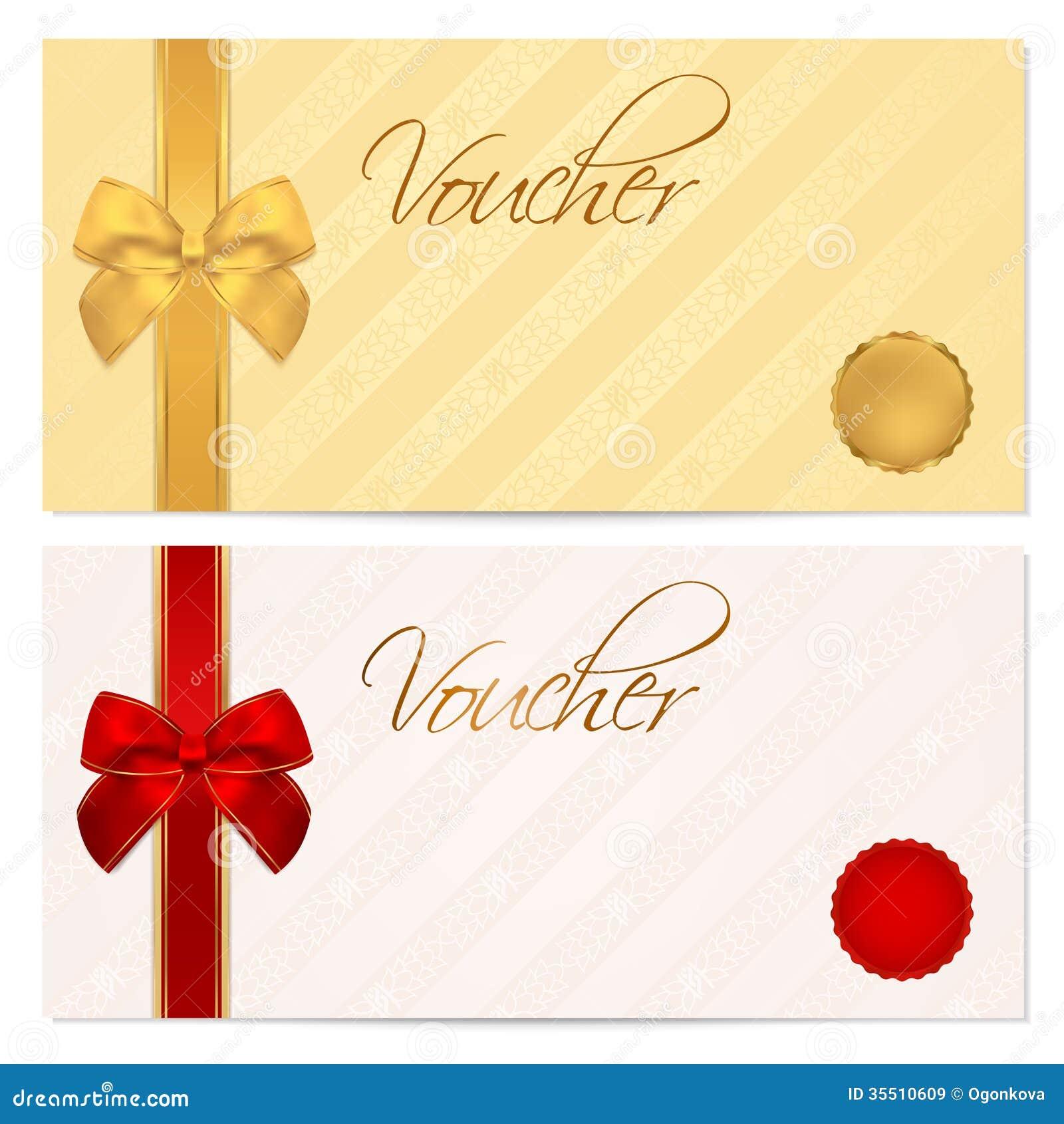 Vale, chèque-cadeaux, plantilla de la cupón. Arco