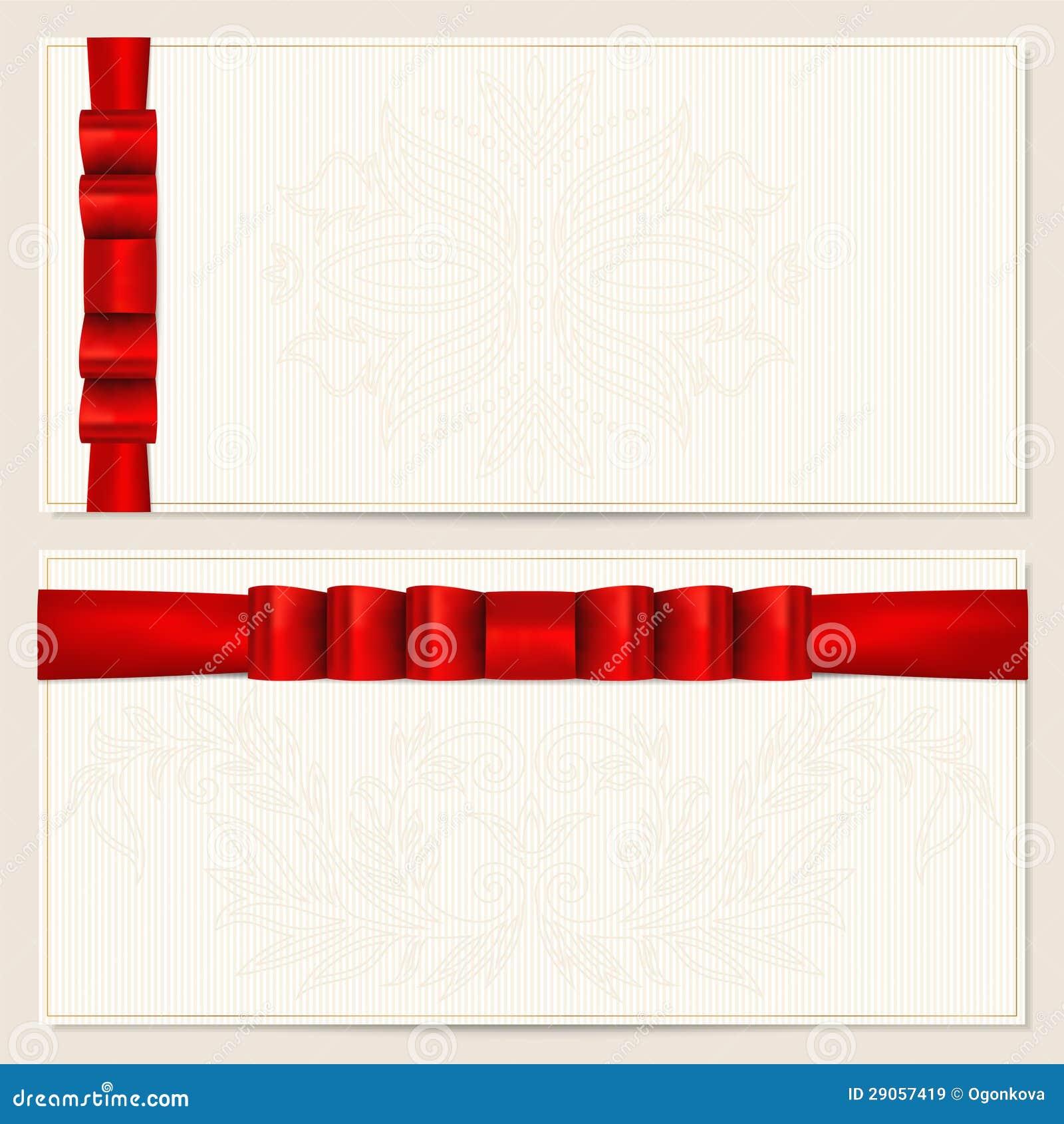 Vale del regalo/modelo de la cupón. Arqueamiento (cintas)