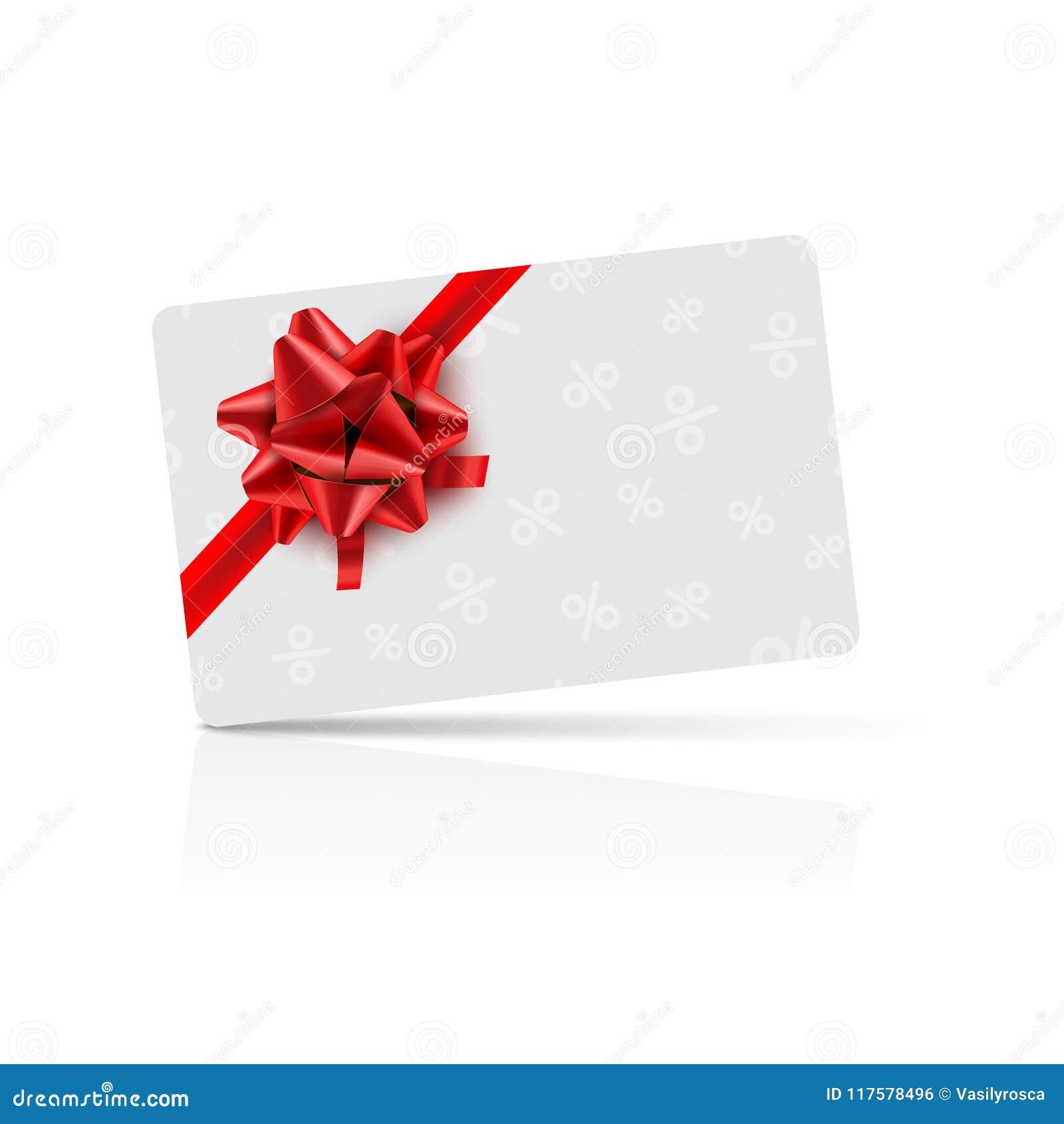 Vale-oferta com curva e a fita vermelhas Projeto da celebração do vale-oferta do vale Cartão do vetor do feriado