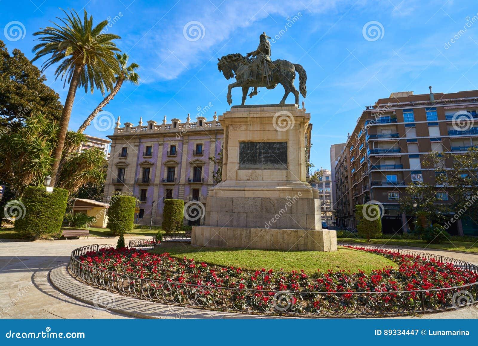 Valencia Parterre Alfonso Magnanimo-Statue Stockbild - Bild von ...