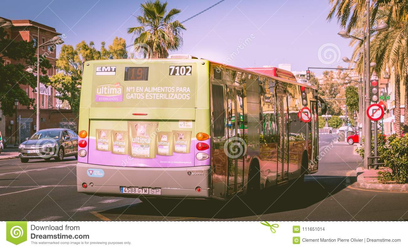 Bus number 7102 of the municipal transit company of Valencia EMT